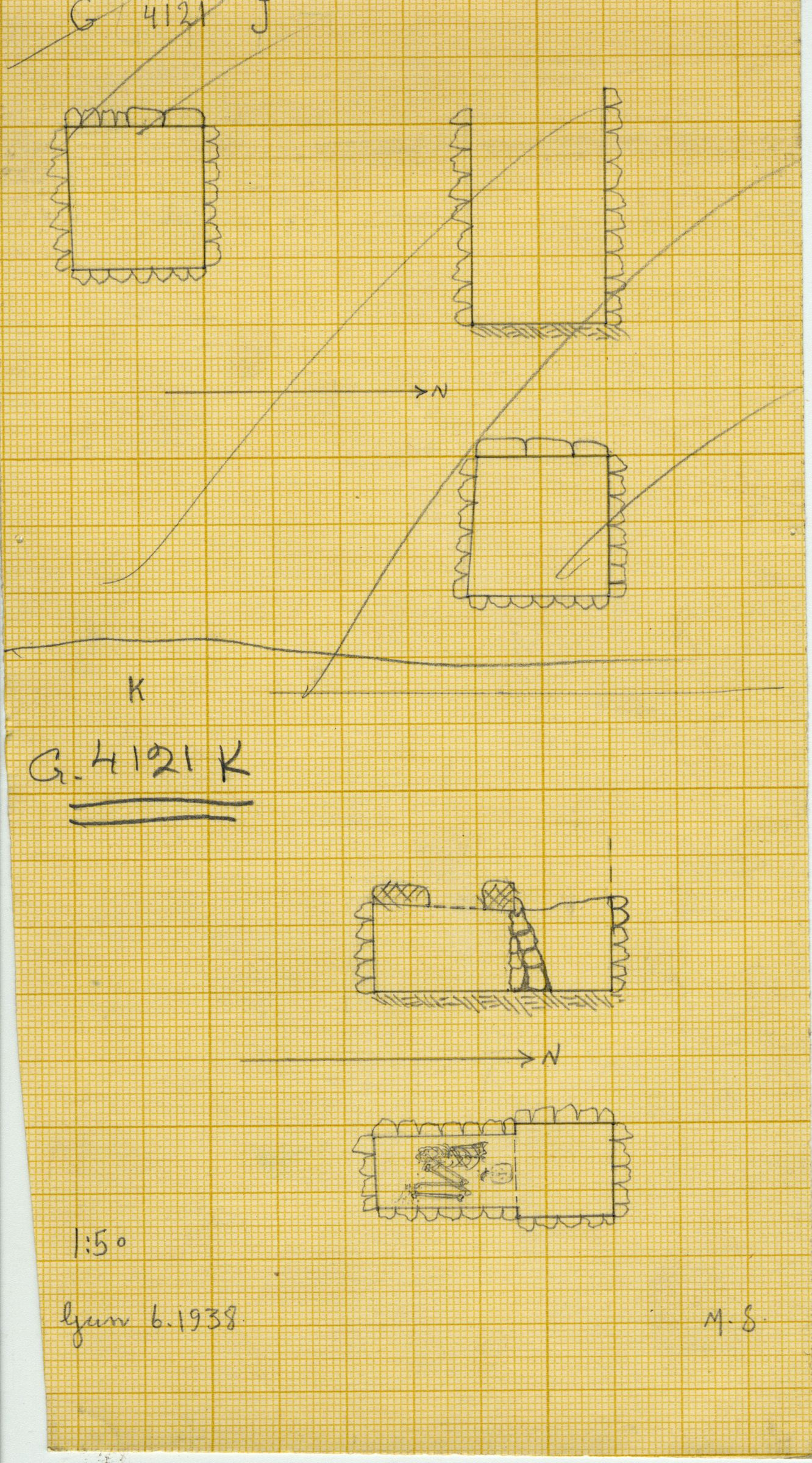 Maps and plans: G 4121, Shaft J and K