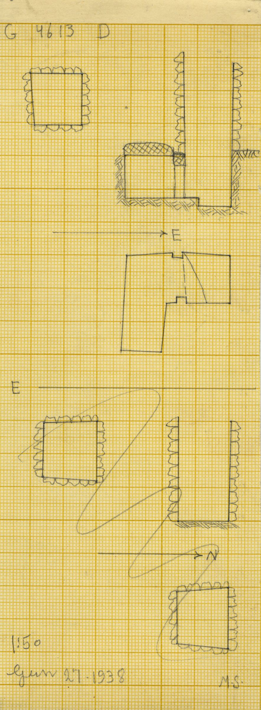 Maps and plans: G 4613, Shaft D and E
