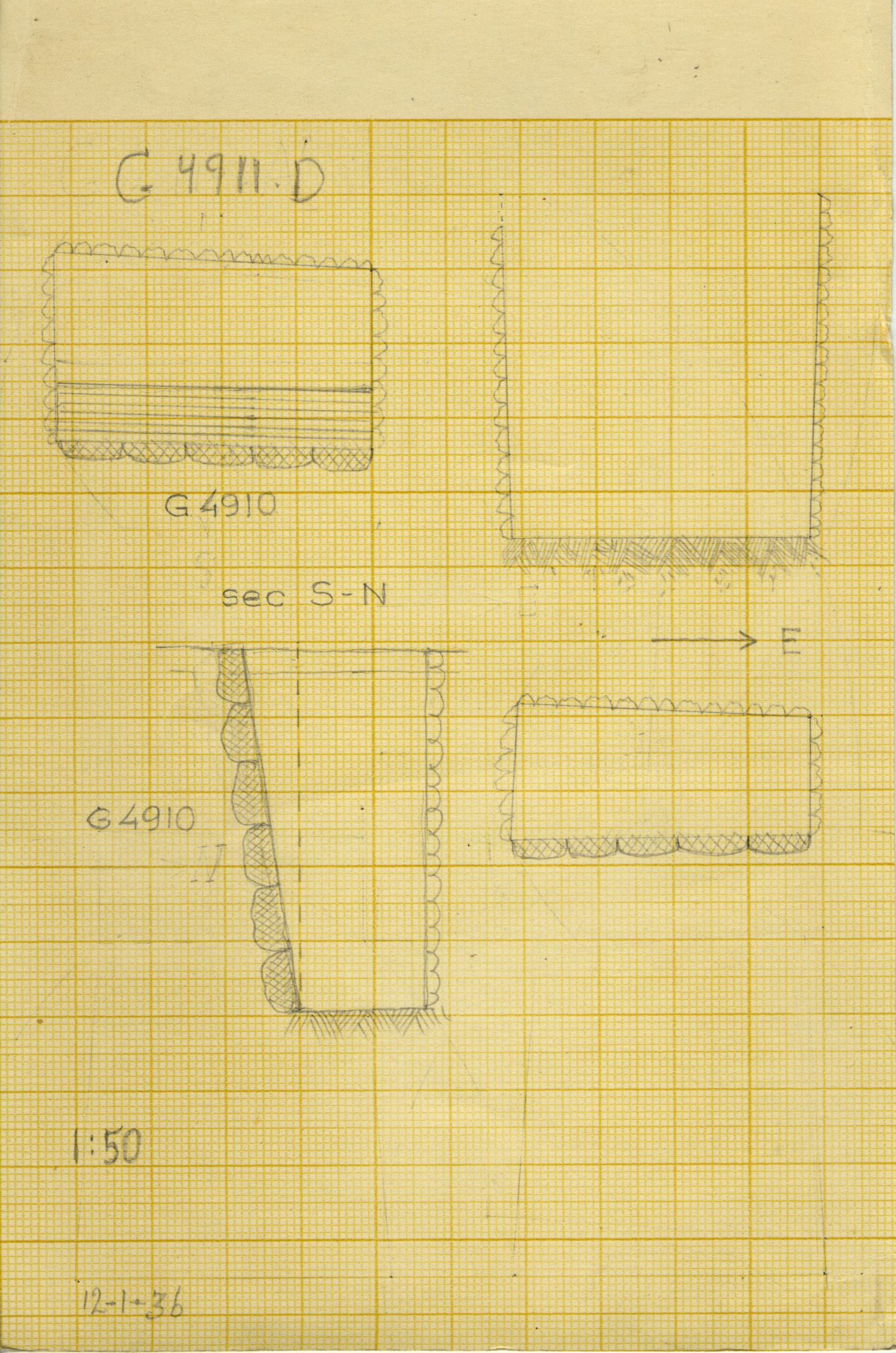 Maps and plans: G 4911, Shaft D