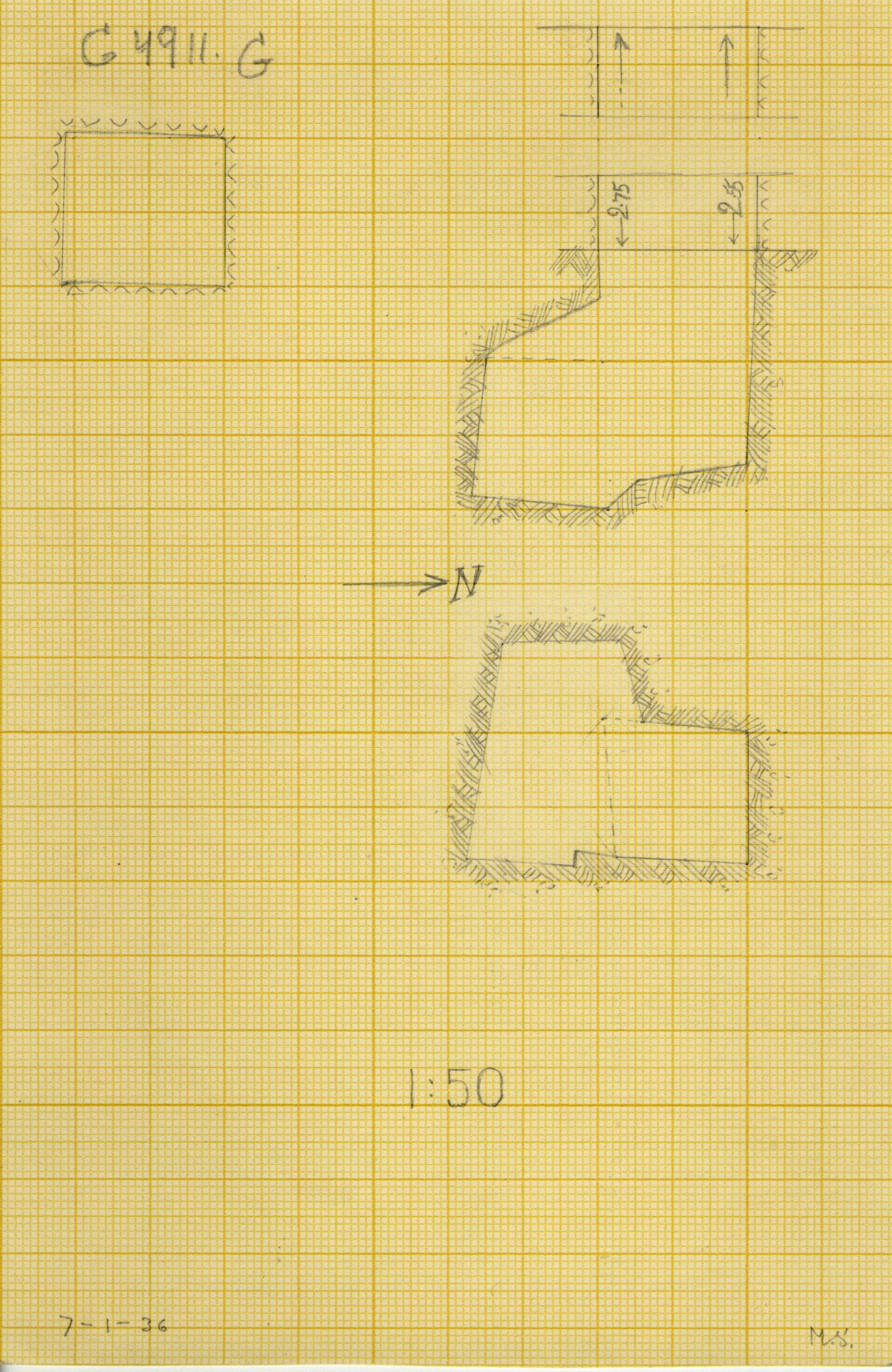 Maps and plans: G 4911, Shaft G