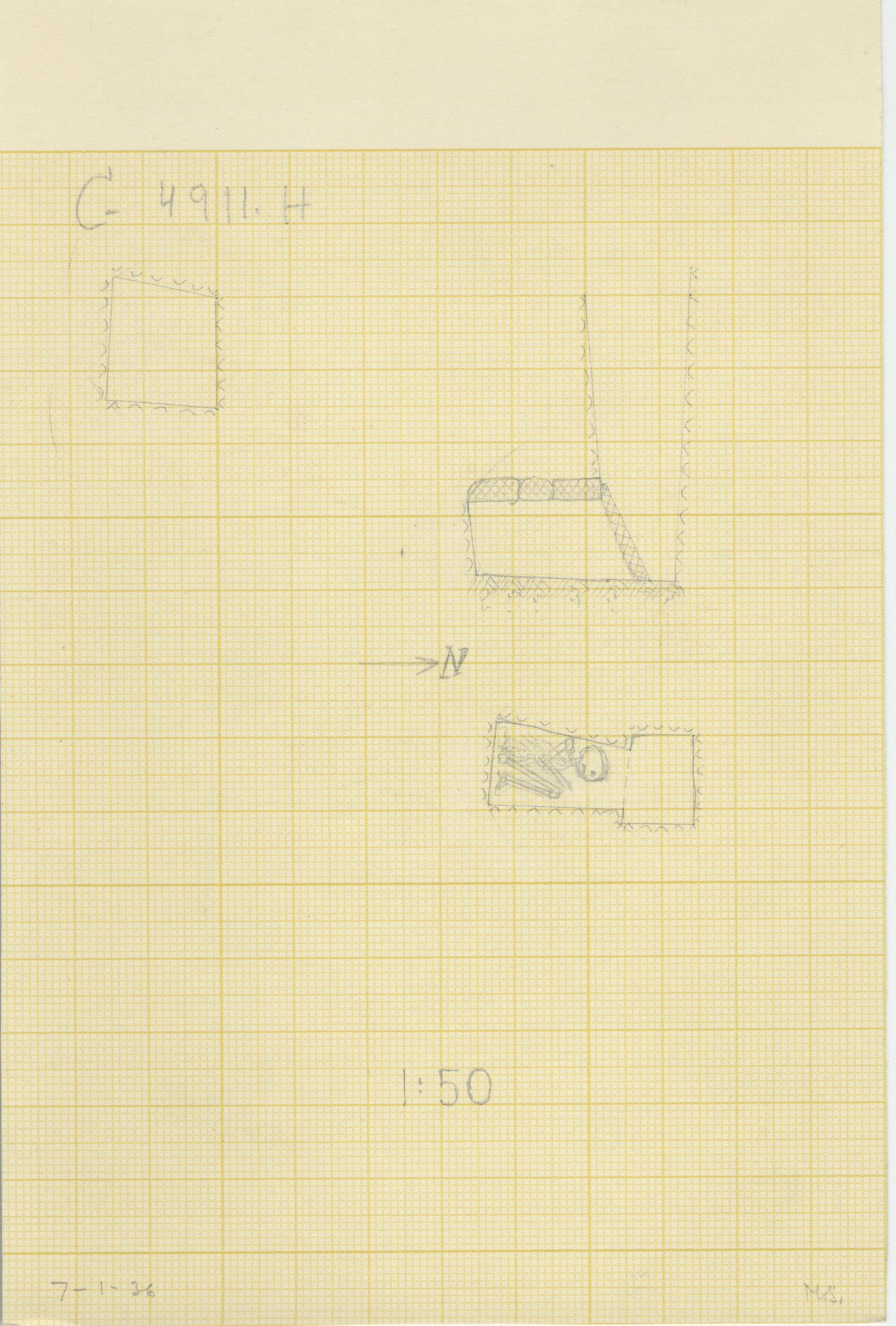 Maps and plans: G 4911, Shaft H