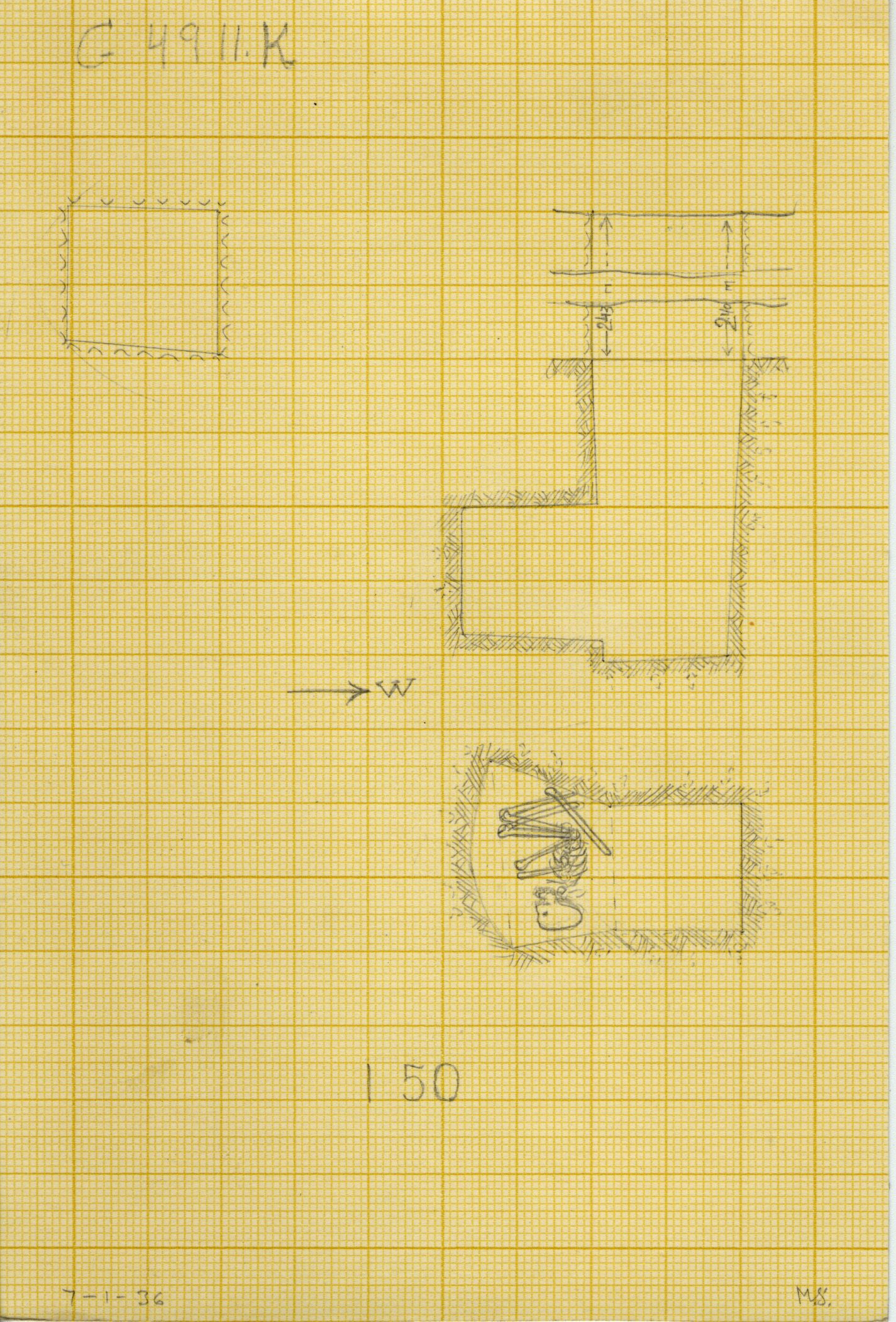 Maps and plans: G 4911, Shaft K