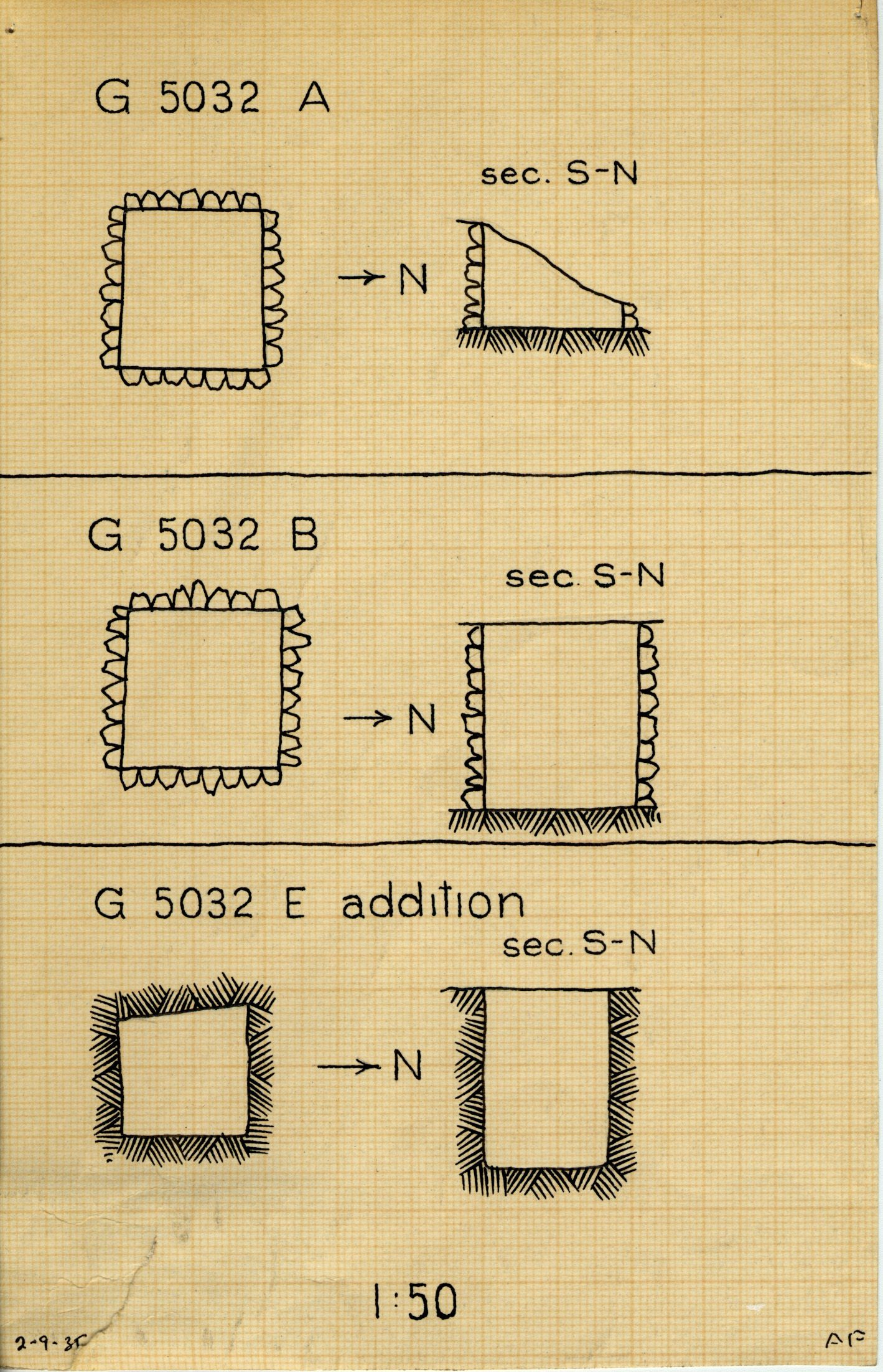Maps and plans: G 5032, Shaft A and B & G 5032a, Shaft E