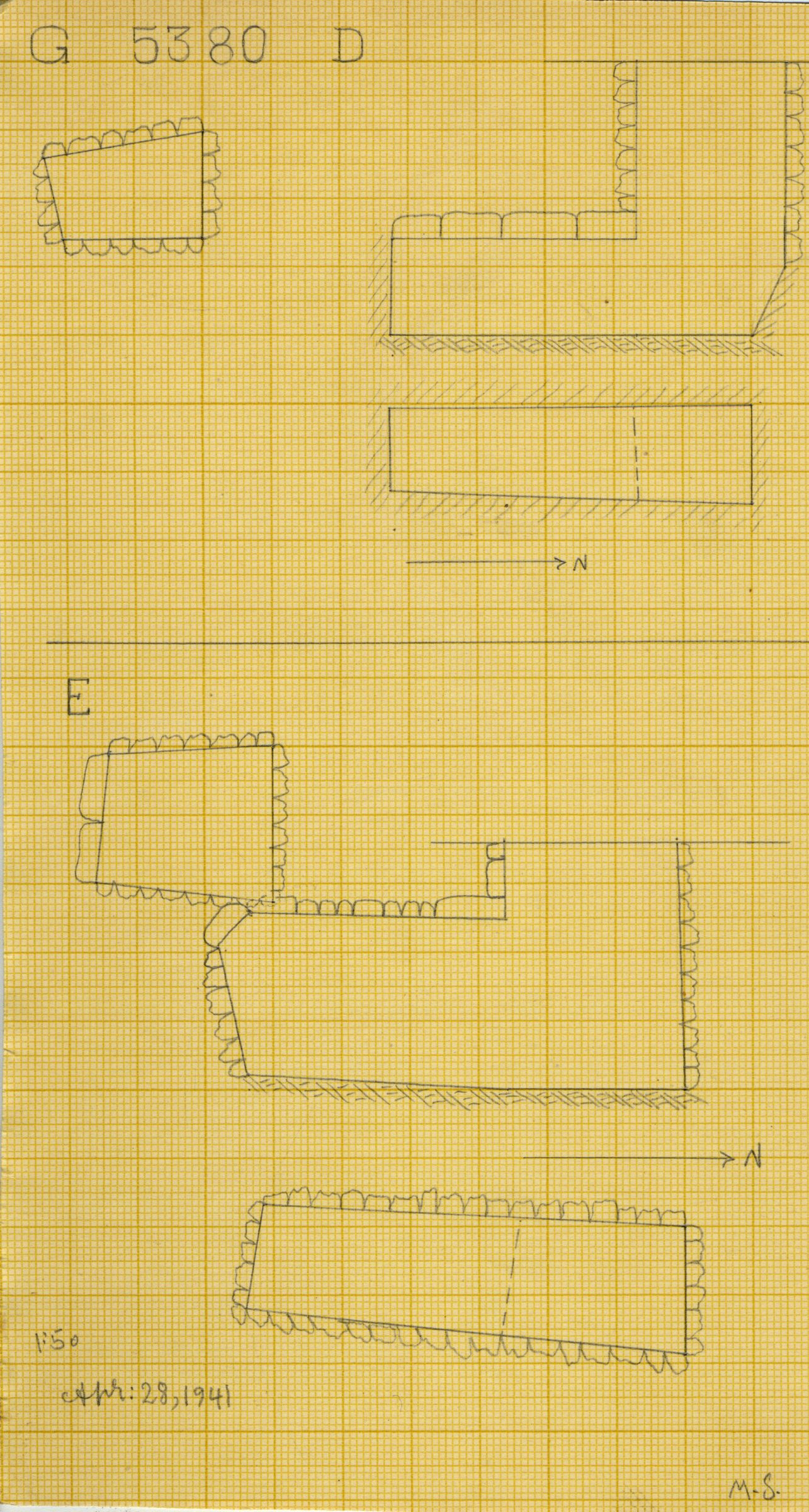 Maps and plans: G 2330 = G 5380, Shaft D and E