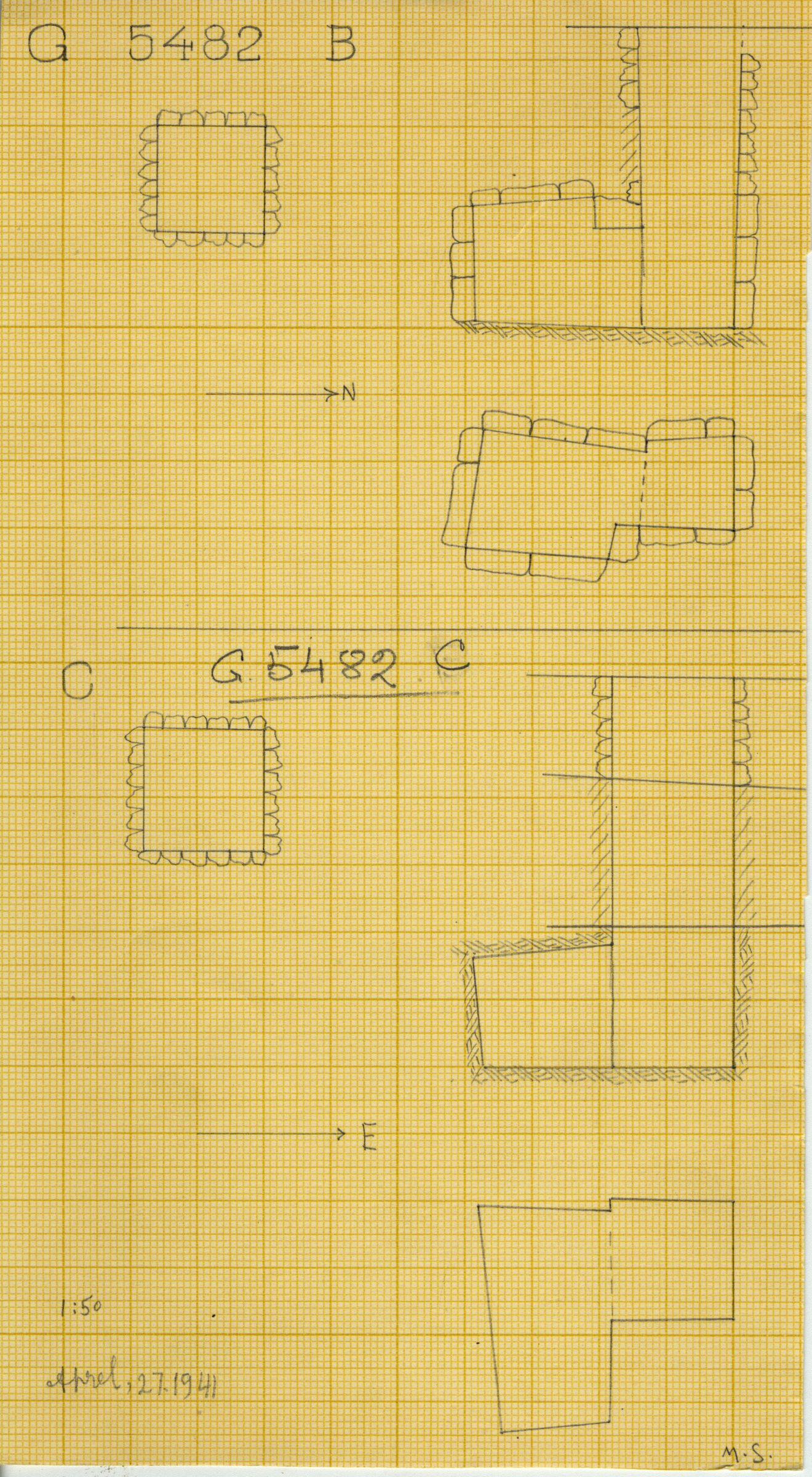 Maps and plans: G 5482, Shaft B and C