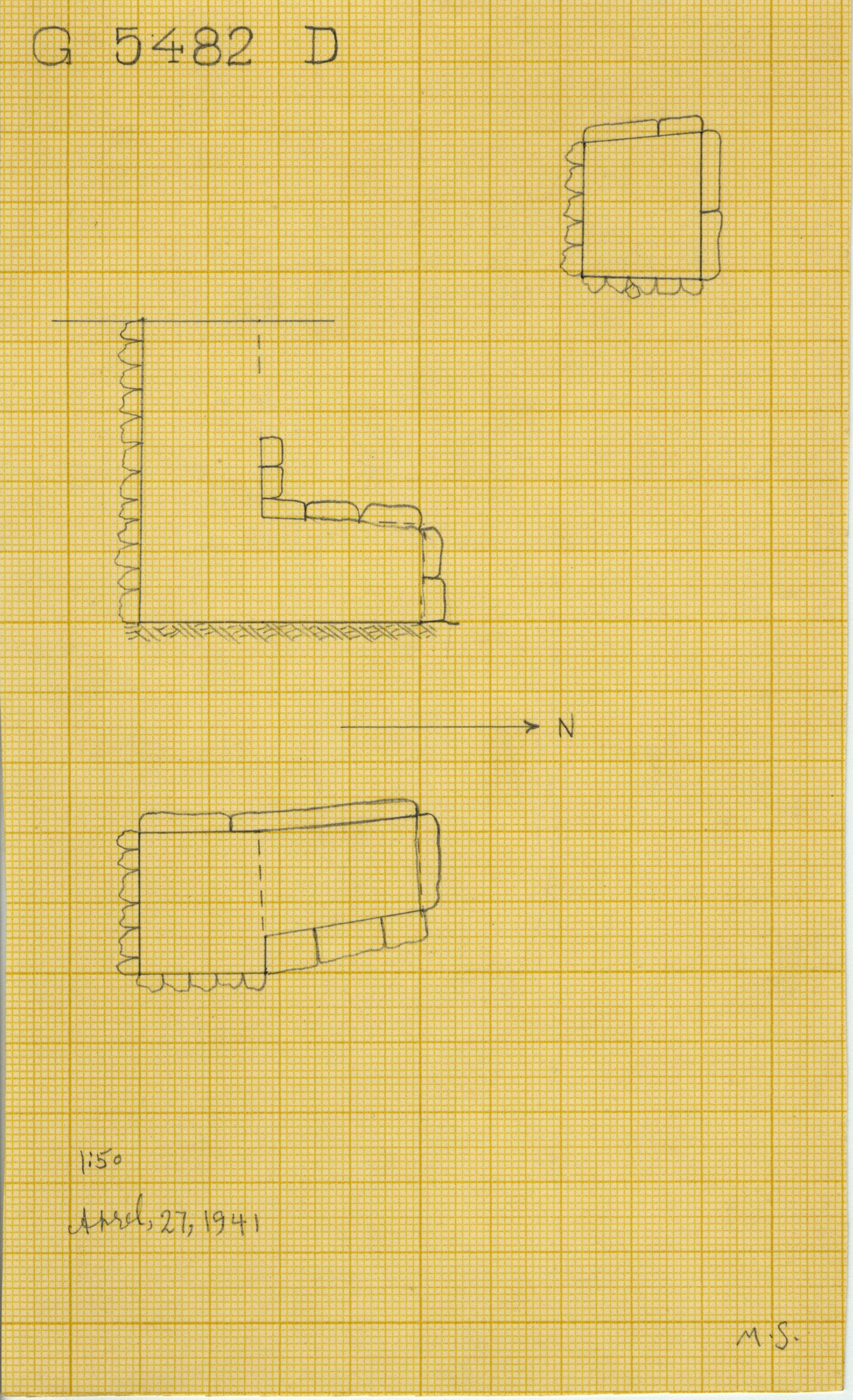 Maps and plans: G 5482, Shaft D
