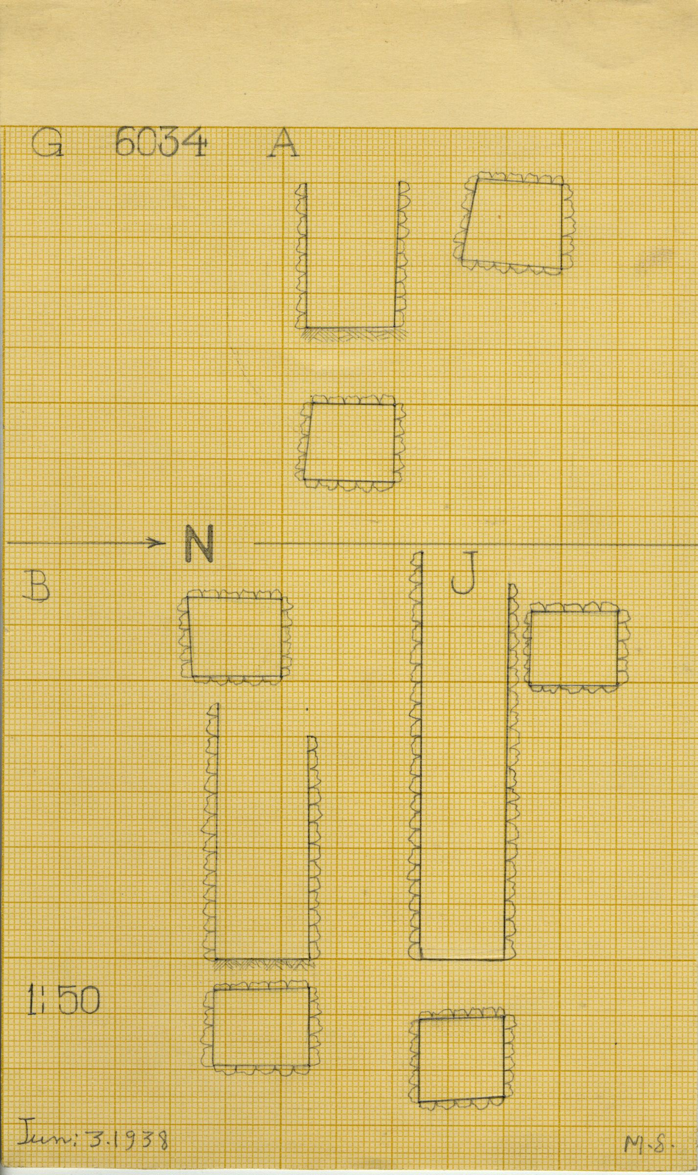Maps and plans: G 6034, Shaft A, B, J