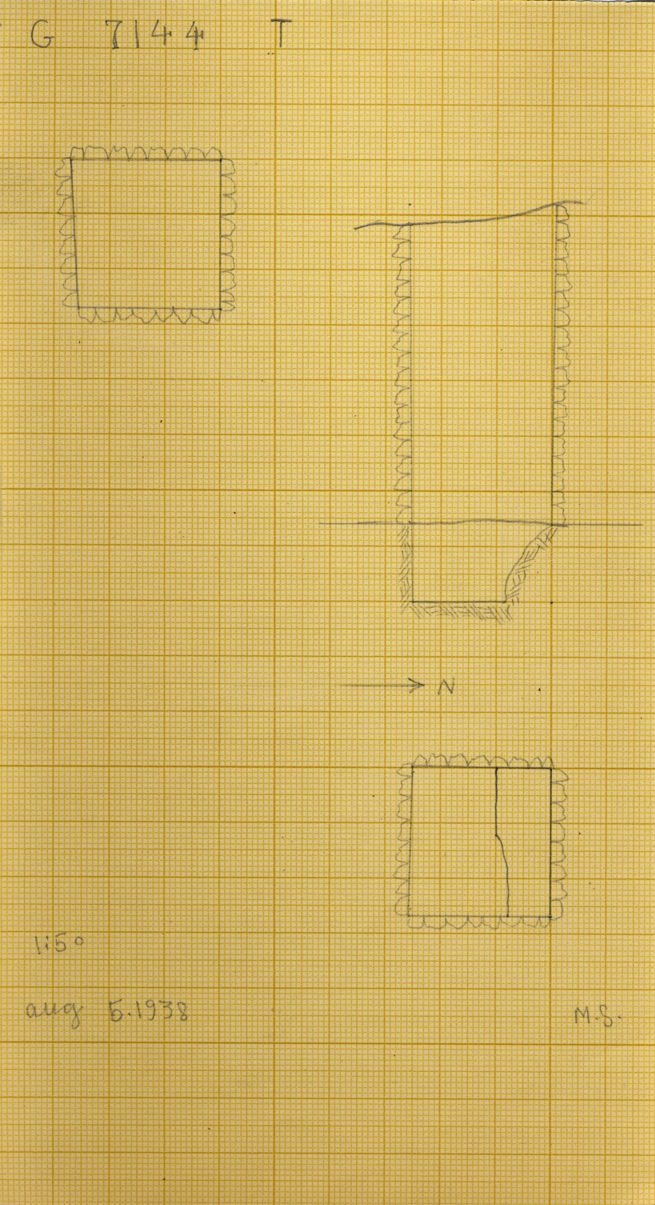Maps and plans: G 7144, Shaft T