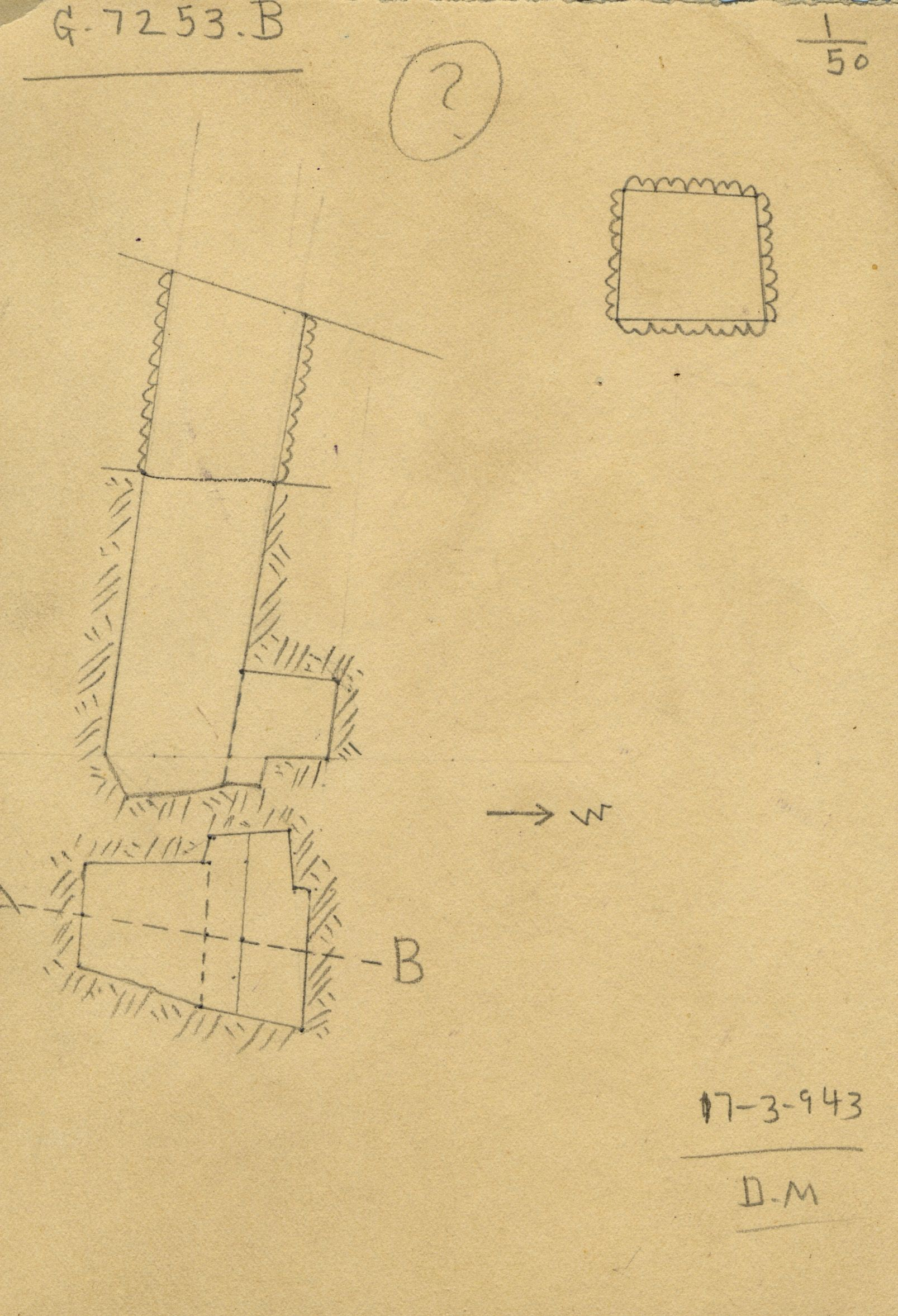 Maps and plans: G 7253, Shaft B