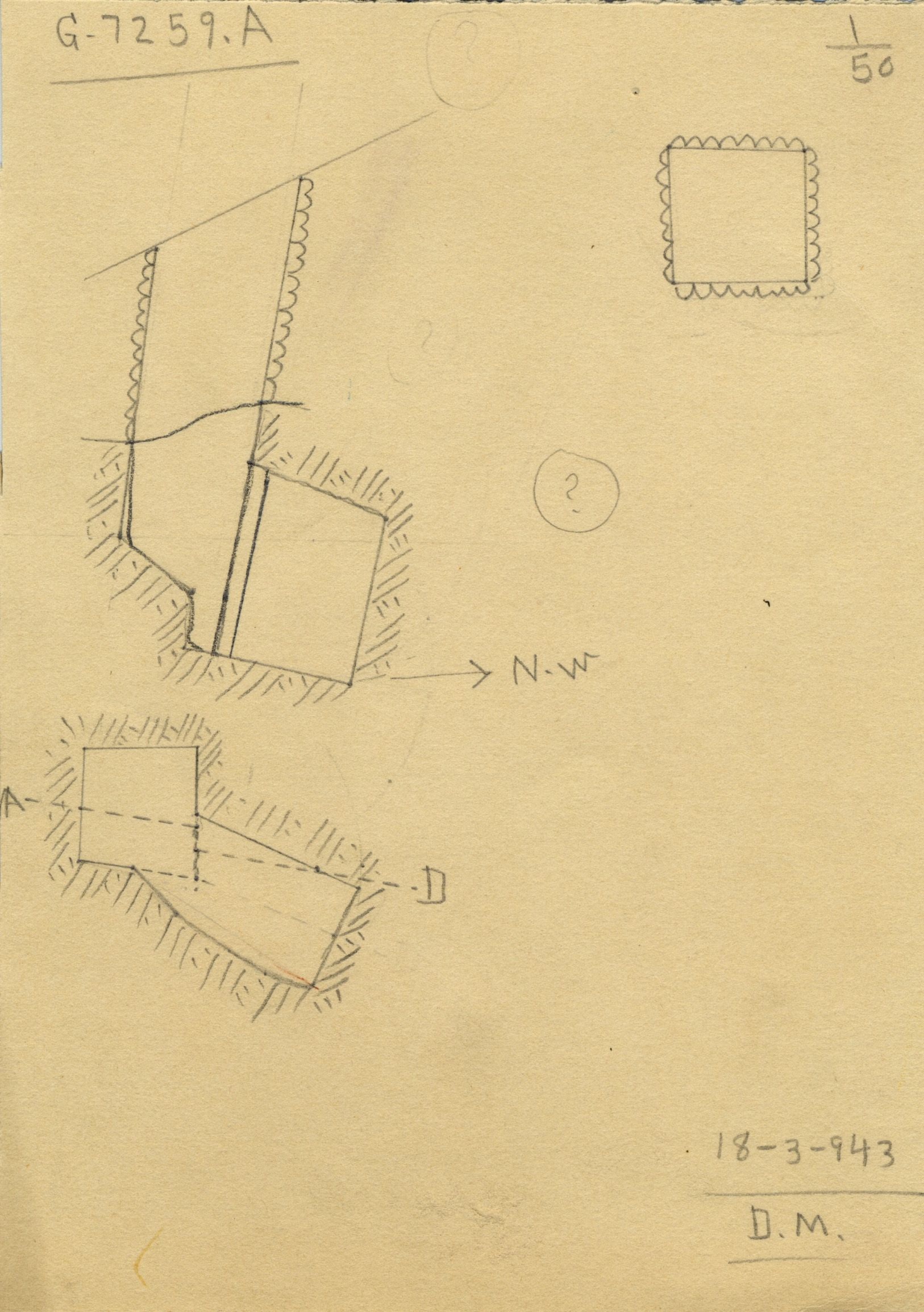 Maps and plans: G 7259, Shaft A