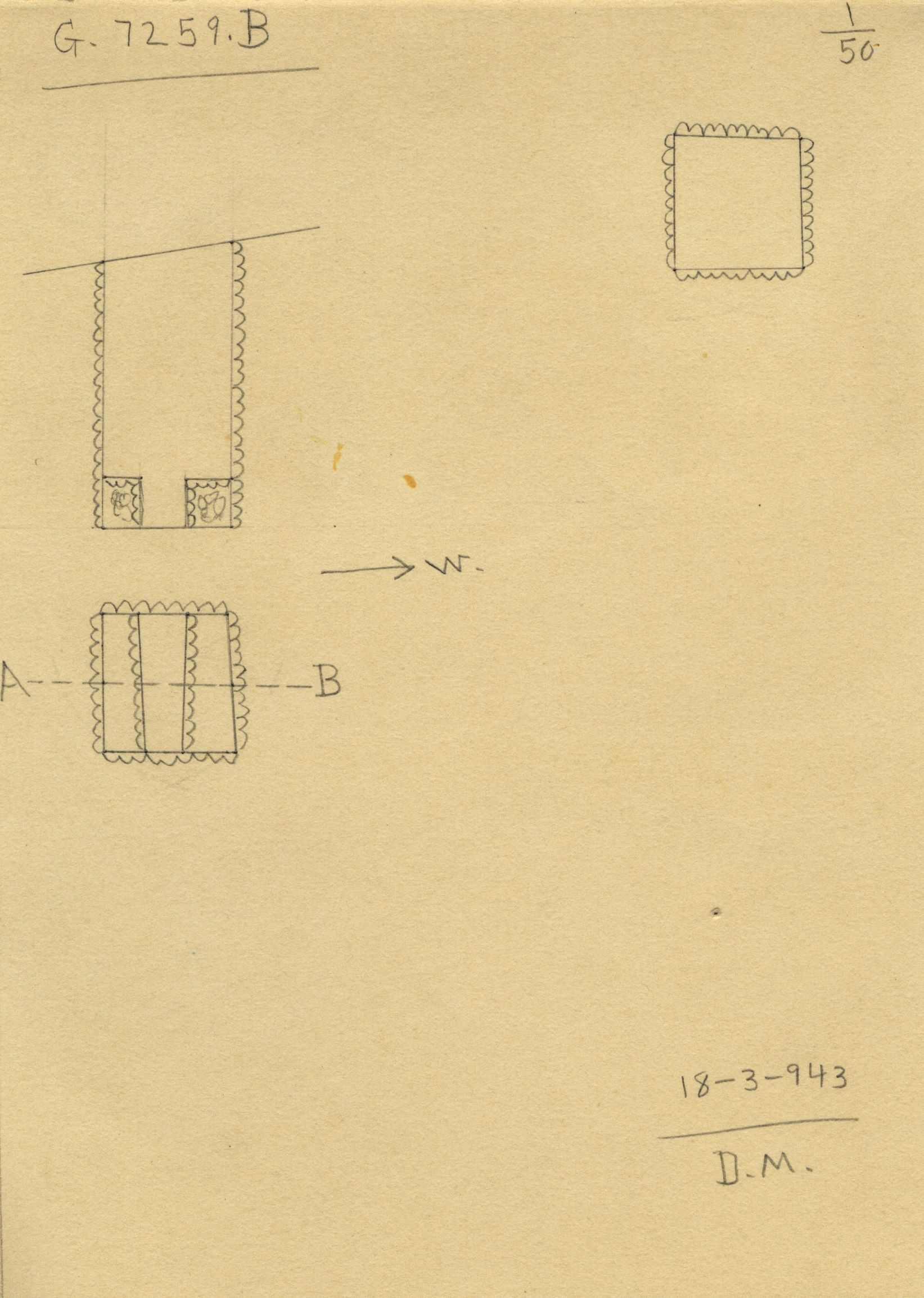 Maps and plans: G 7259, Shaft B