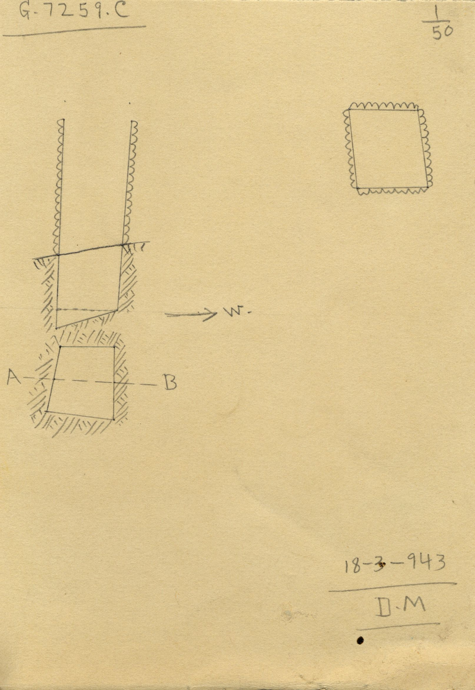Maps and plans: G 7259, Shaft C