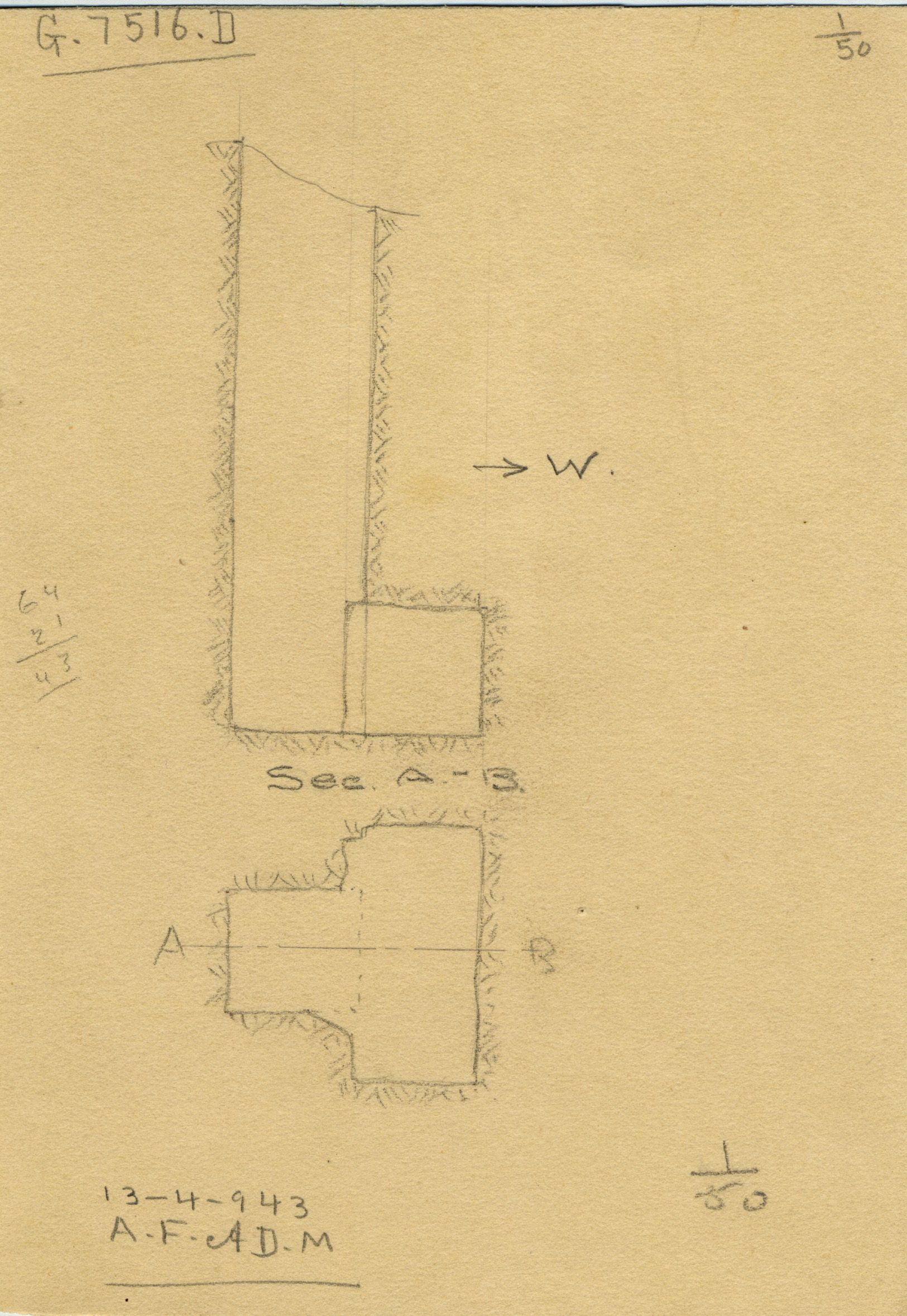 Maps and plans: G 7516, Shaft D