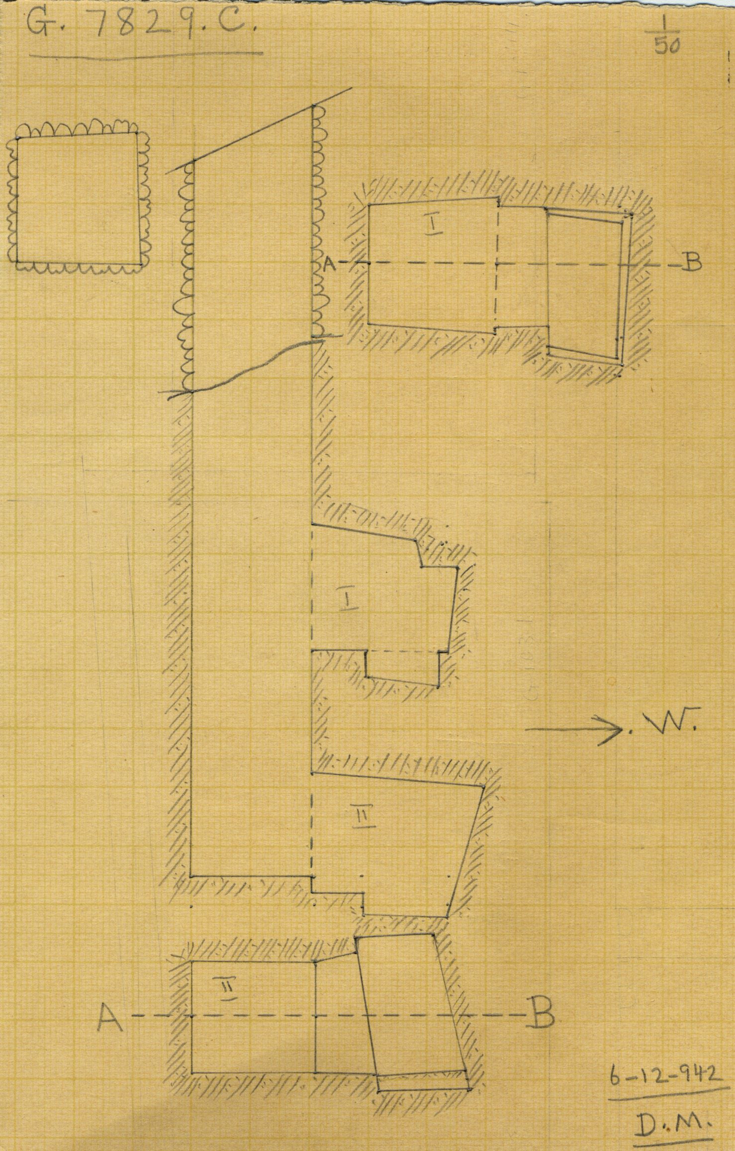 Maps and plans: G 7829, Shaft C