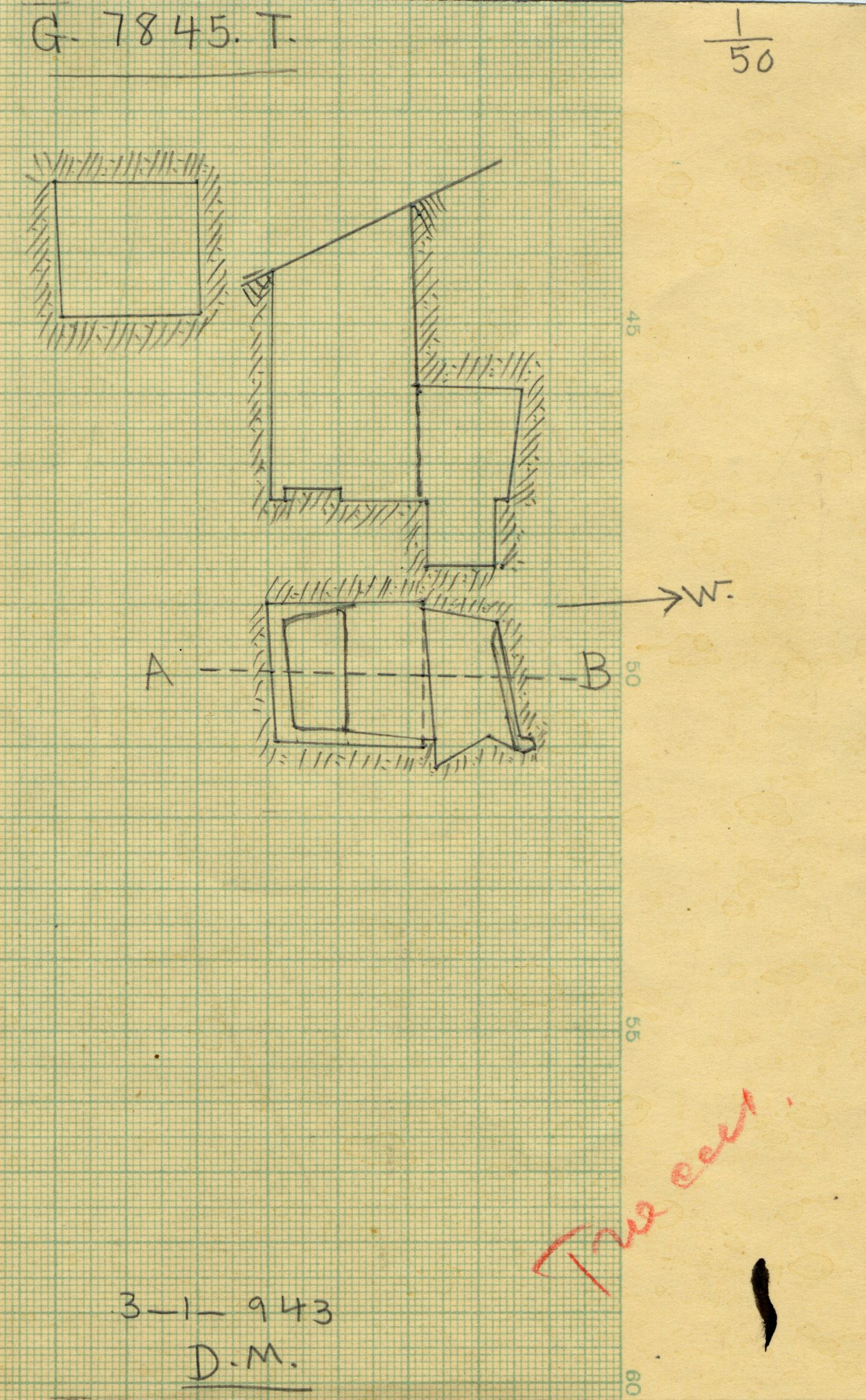 Maps and plans: G 7845, Shaft T