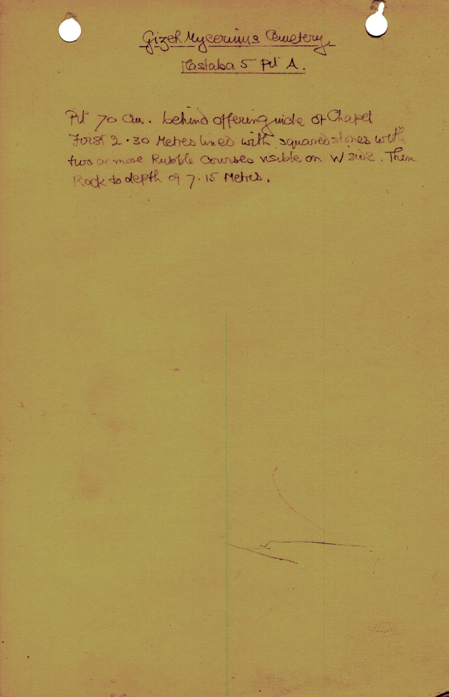 Notes: MQ 5, Shaft A, notes