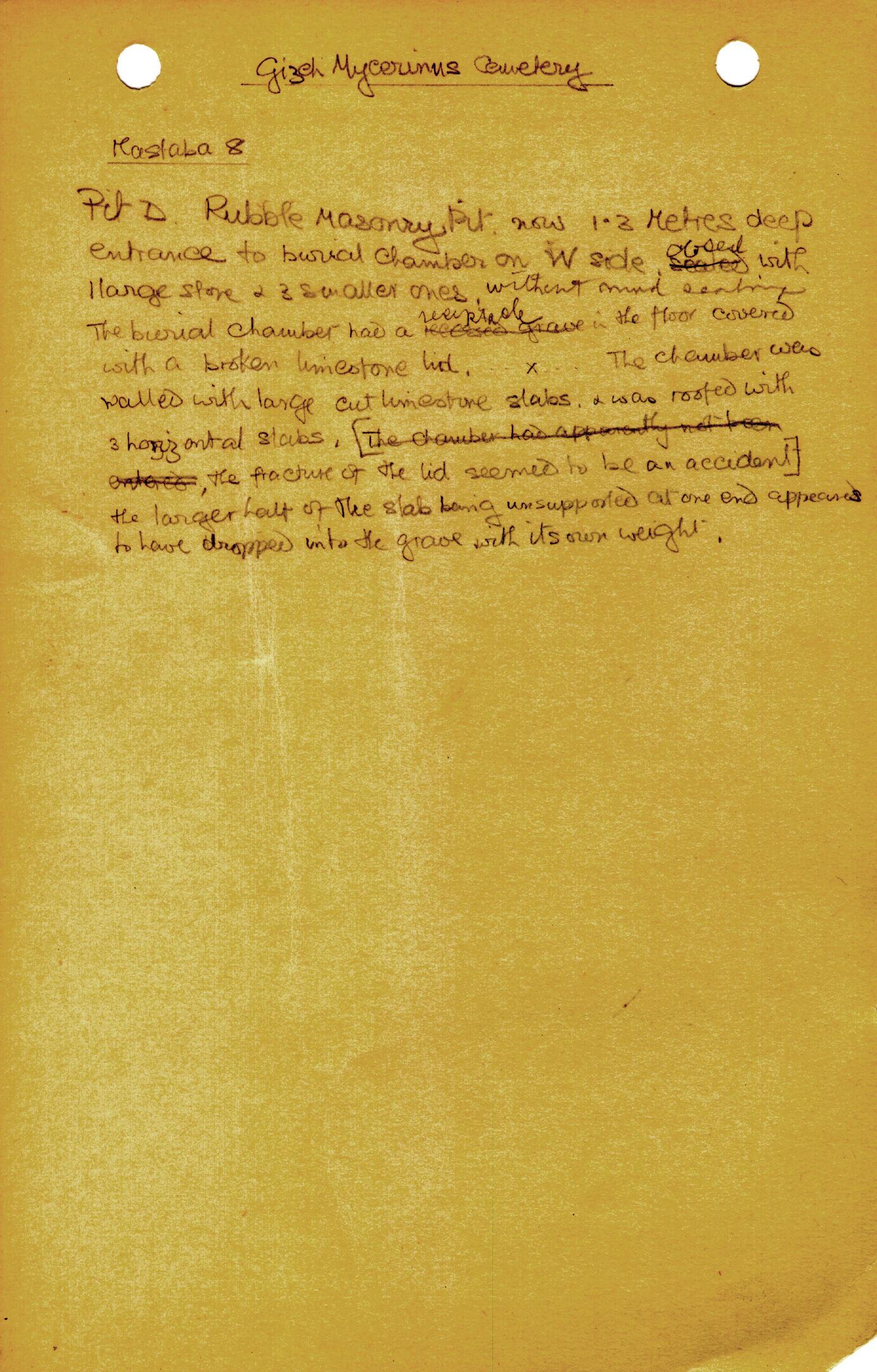 Notes: MQ 8, Shaft D, notes