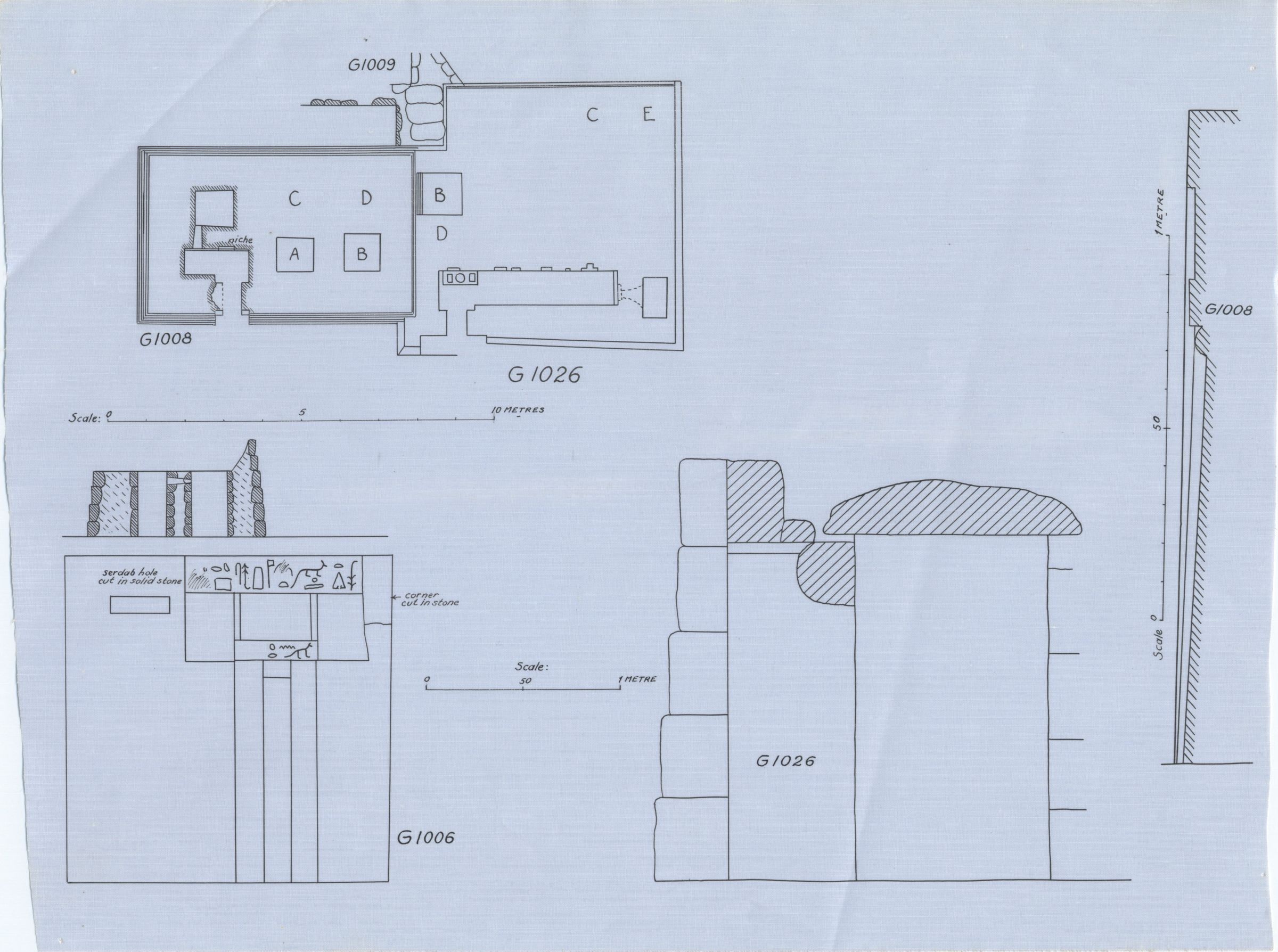 Maps and plans: Plan of G 1008 and G 1026 & Section of G 1026 & G 1008 false door