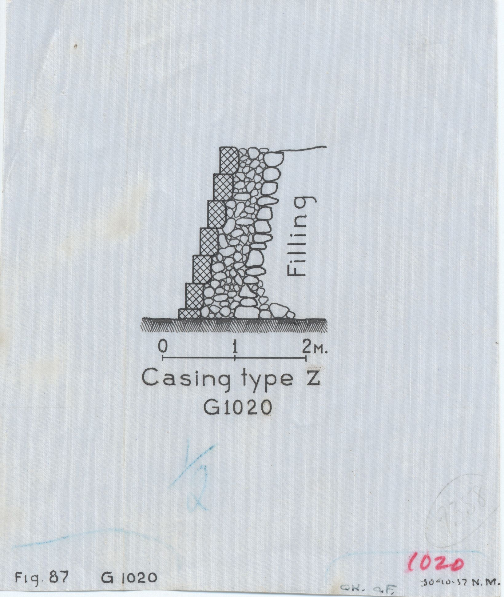Maps and plans: G 1020, Section of casing type Z