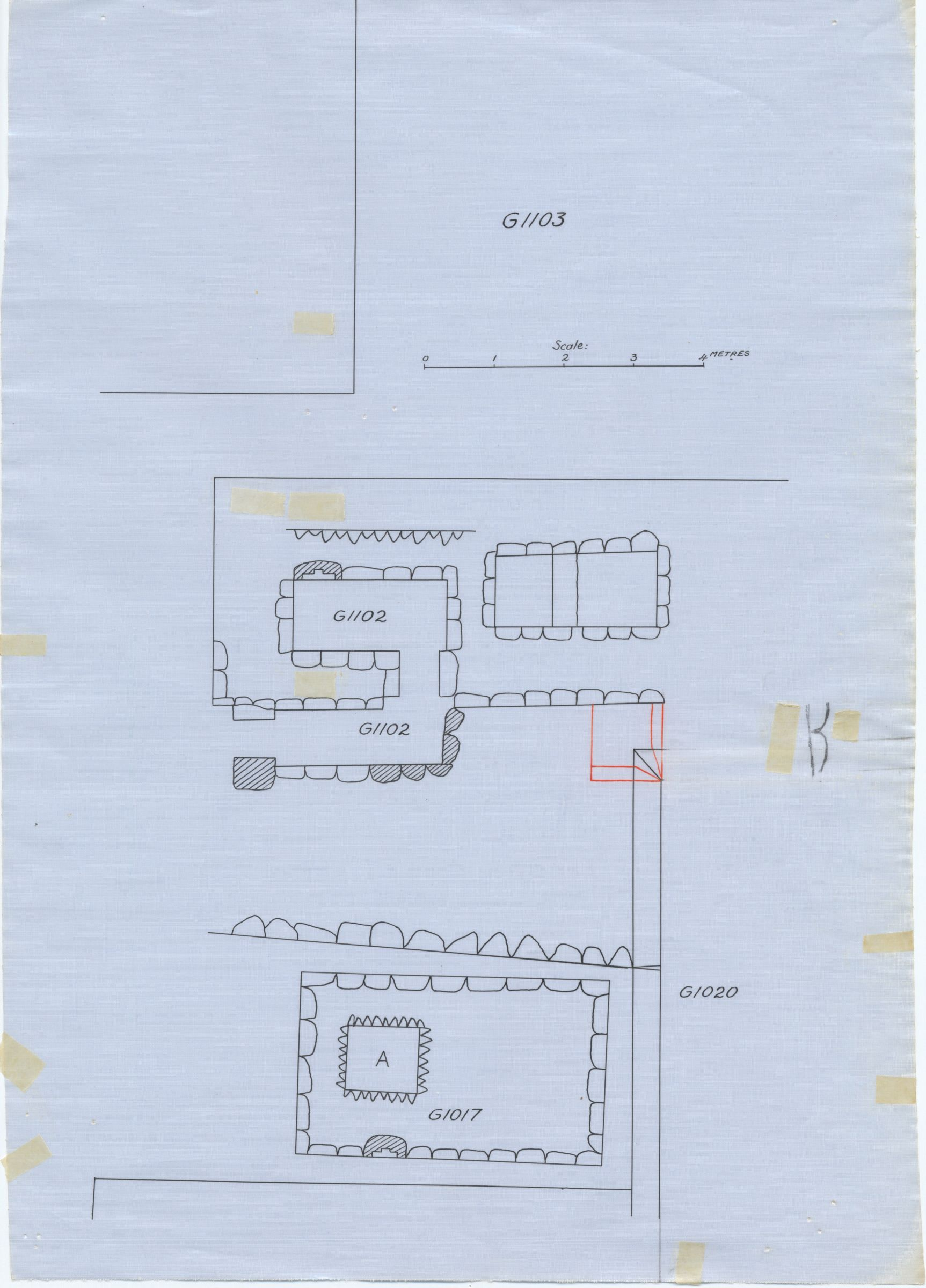 Maps and plans: Plan of G 1017 and G 1102, with position of G 1020 and G 1103
