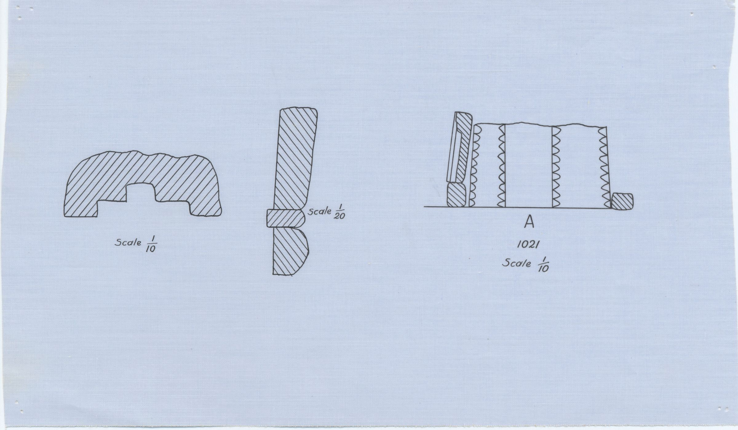 Maps and plans: G 1021, Plan and section of niche & Section through shaft A