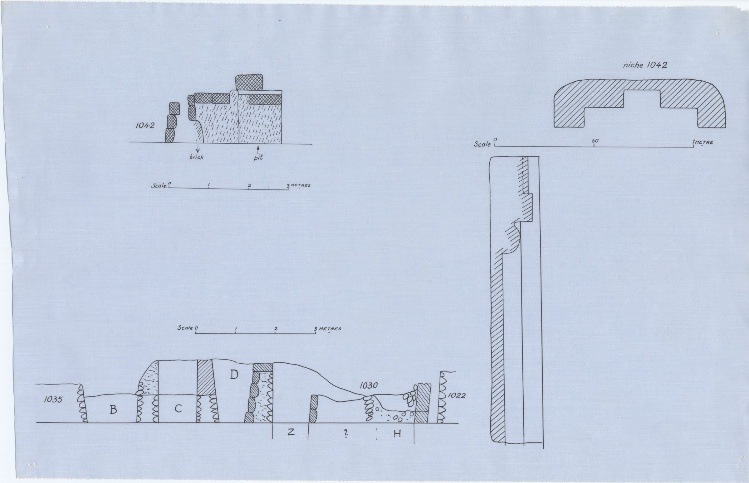 Maps and plans: Plan and section of G 1042 niche & Sections of G 1022, G 1030, G 1035, and G 1042