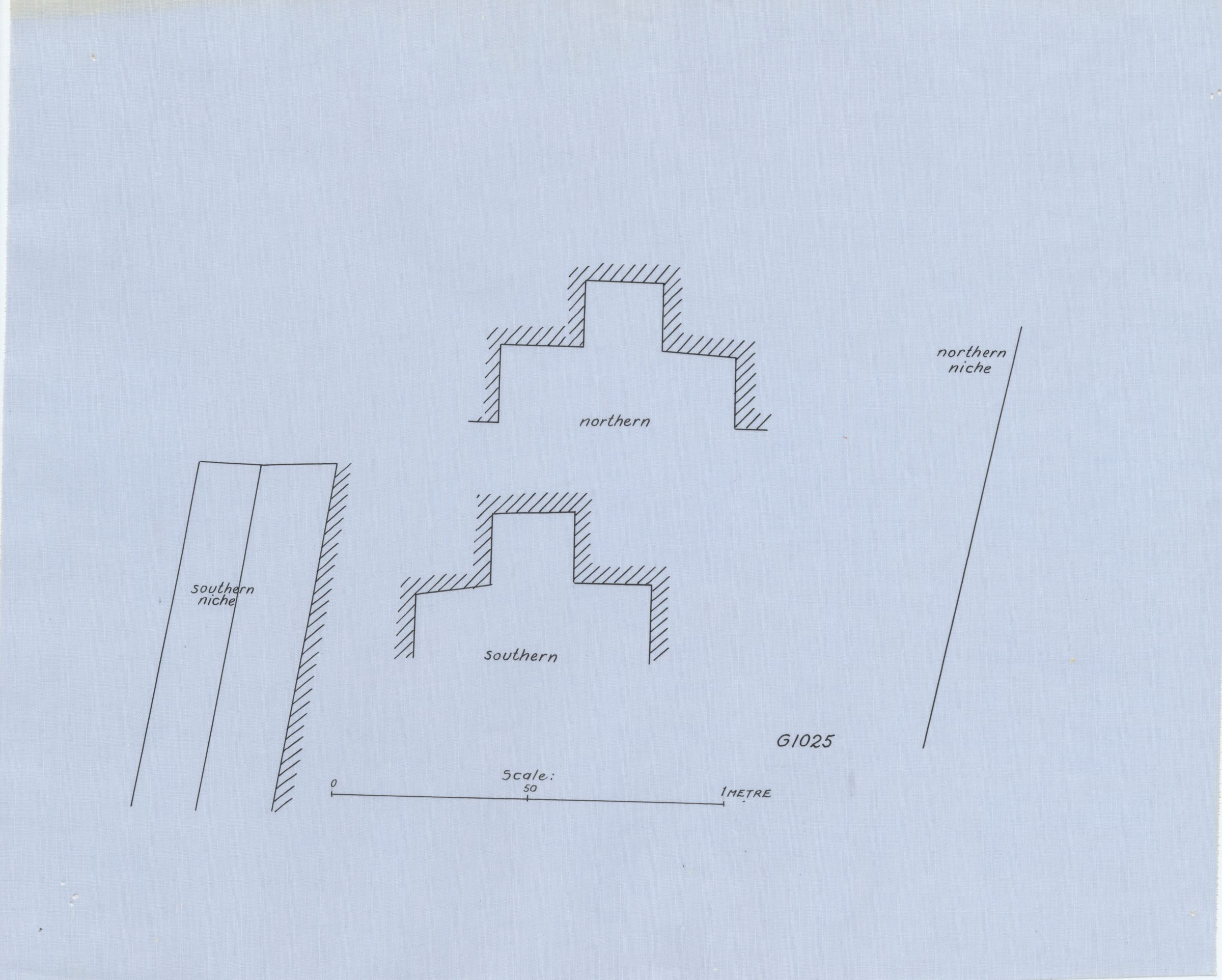 Maps and plans: G 1025, Plan and section of north and south niches