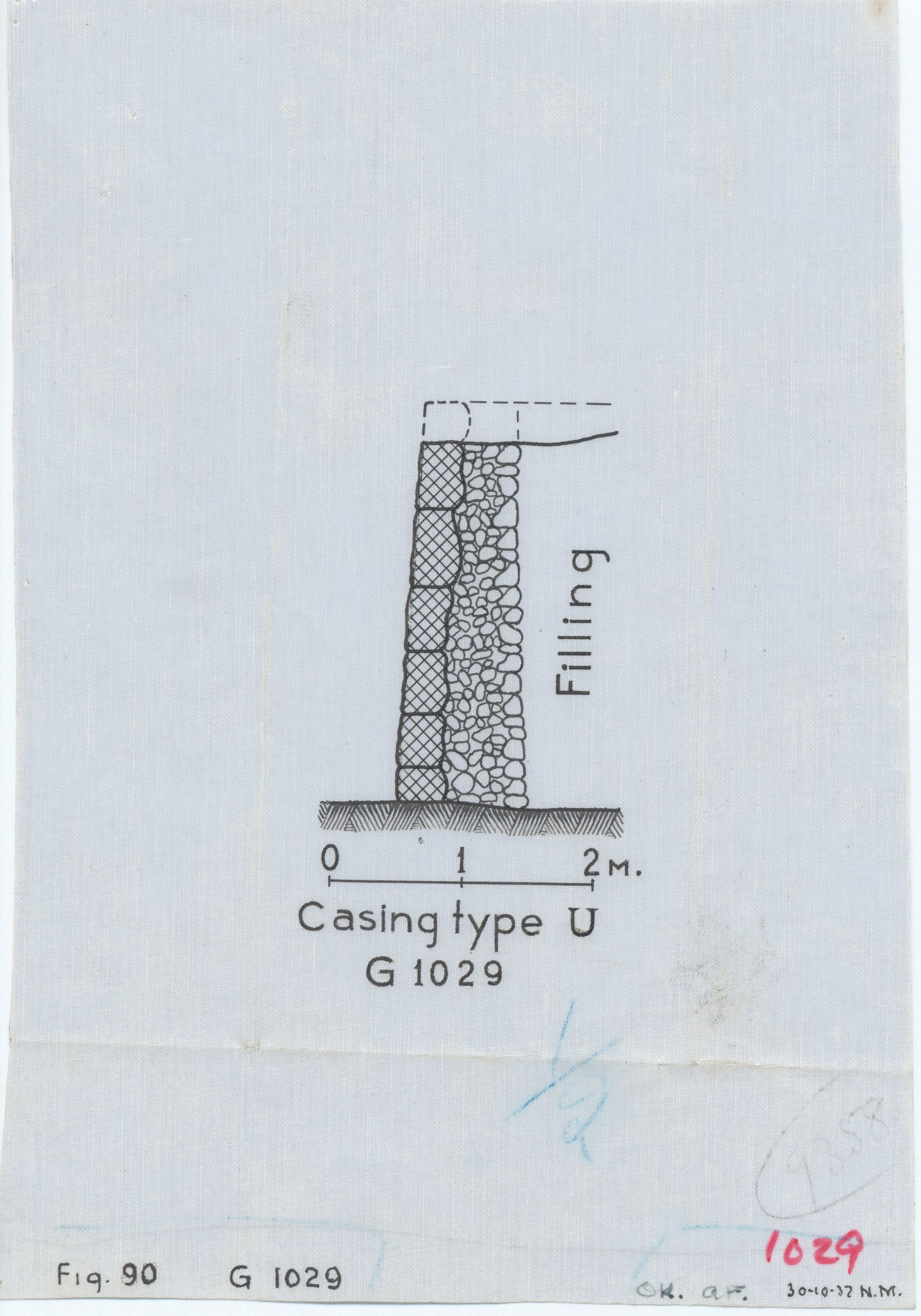 Maps and plans: G 1029, Section of casing type U