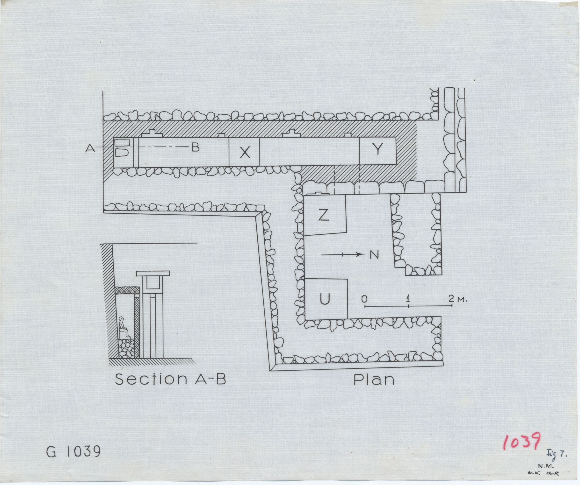 Maps and plans: G 1039, Plan (partial) & Section of serdab
