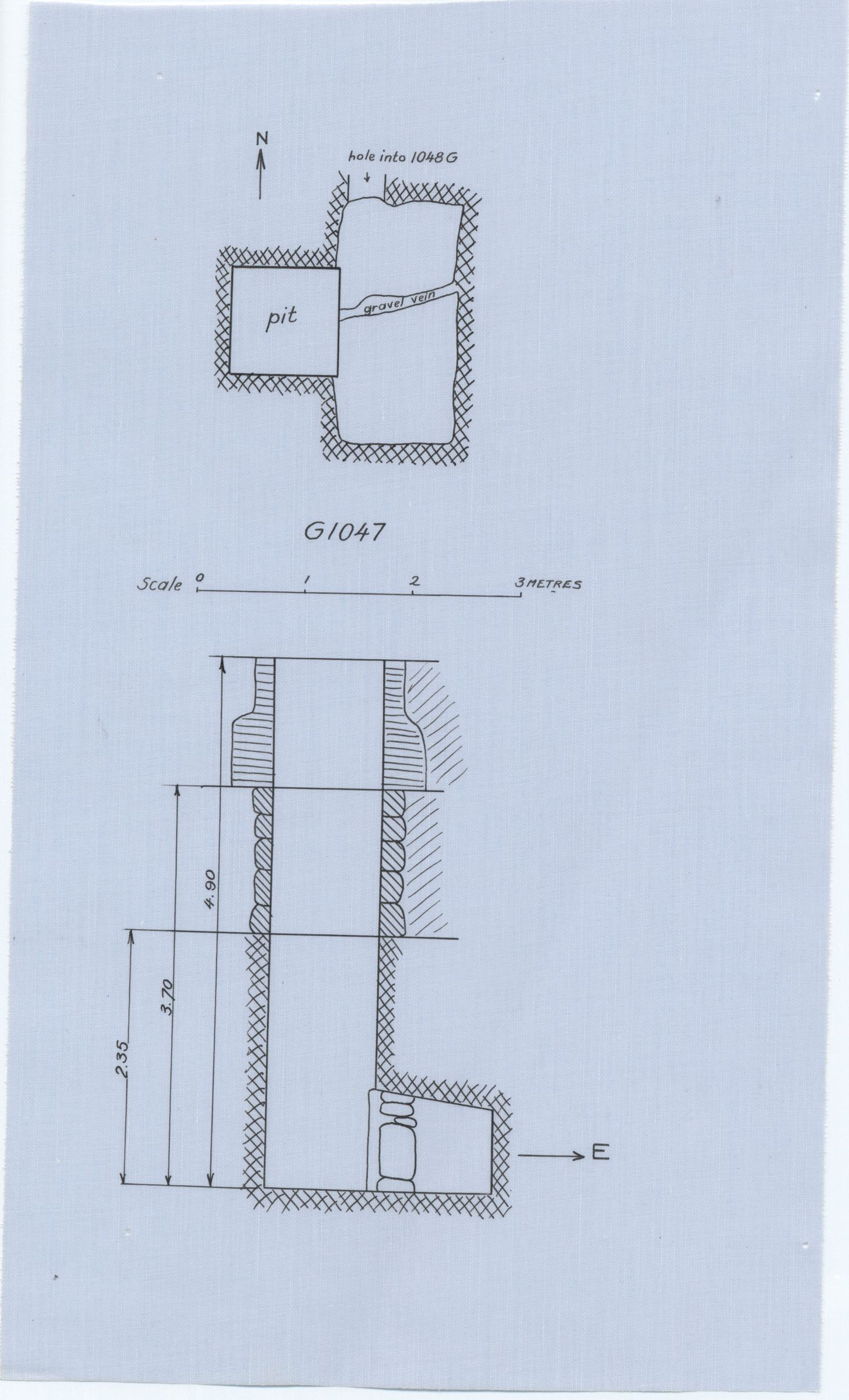 Maps and plans: G 1047, Shaft D (with hole into G 1048 C)