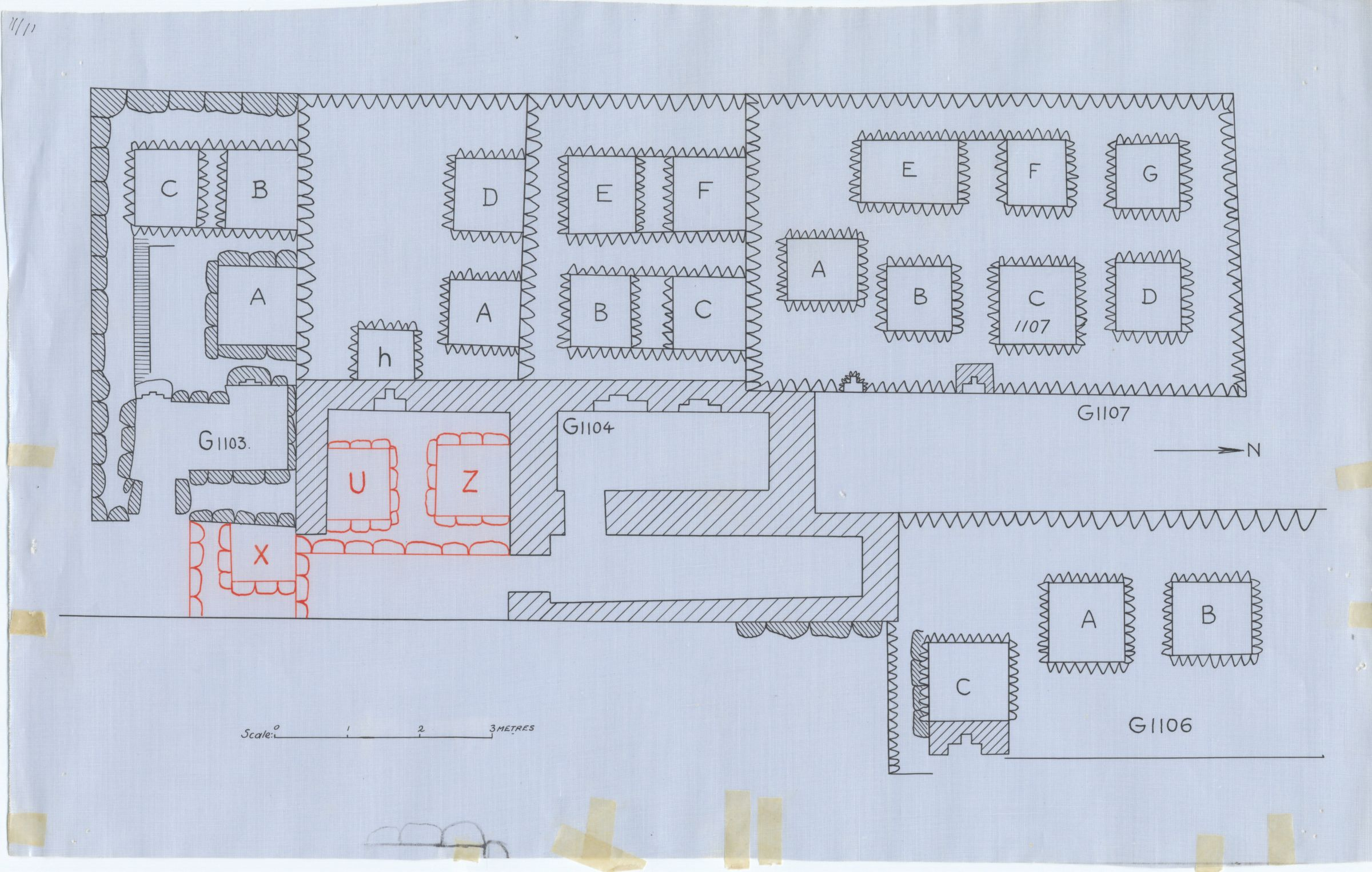 Maps and plans: Plan of G 1103, G 1104+1105, G 1106, G 1107