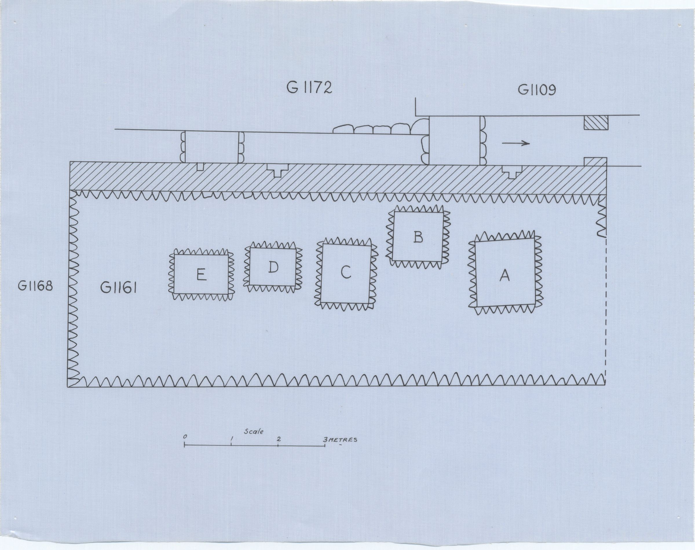 Maps and plans: Plan of G 1161, with position of G 1109 and G 1162+1172