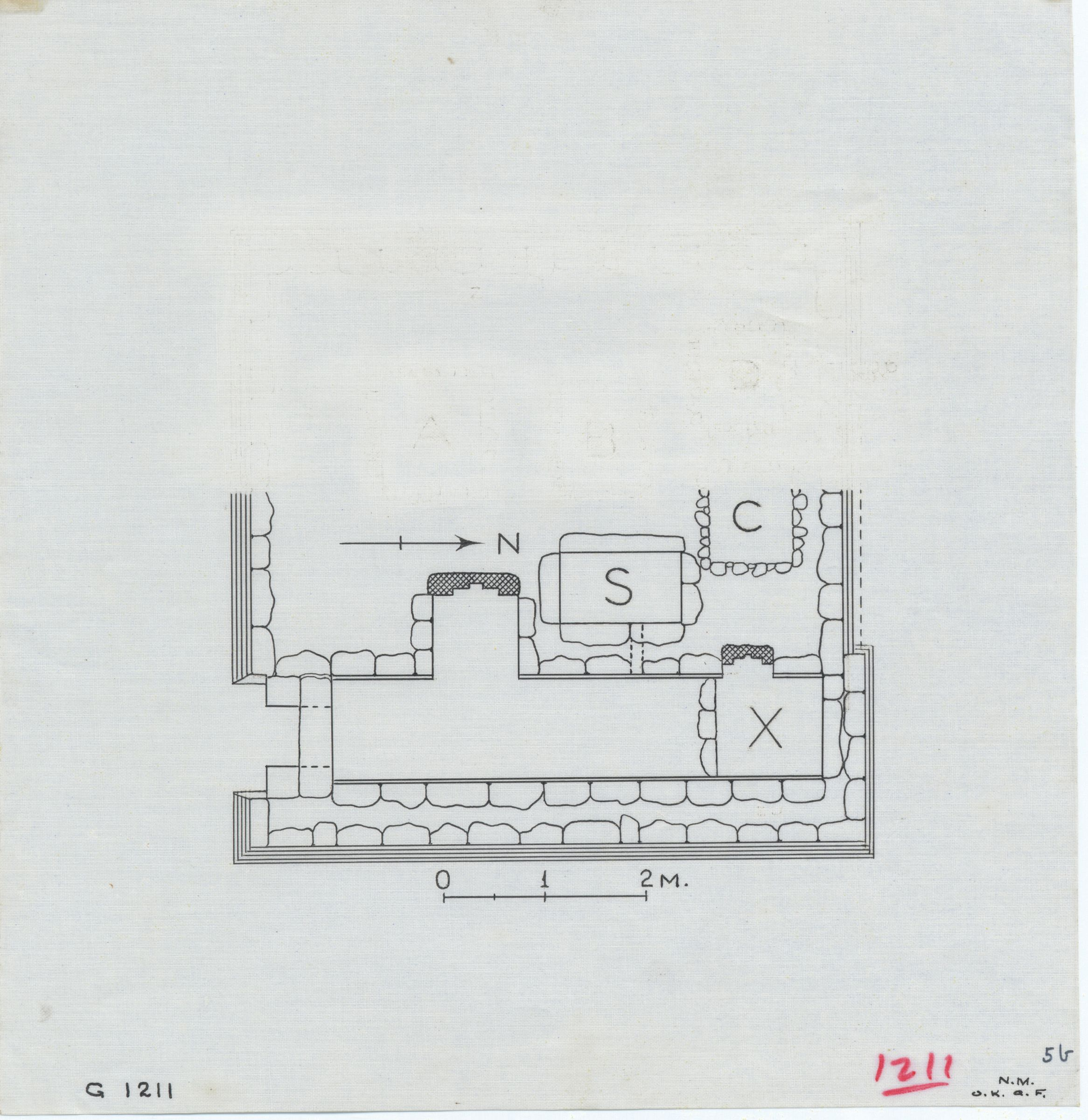Maps and plans: G 1211, Plan of chapel, with serdab and shafts C and X