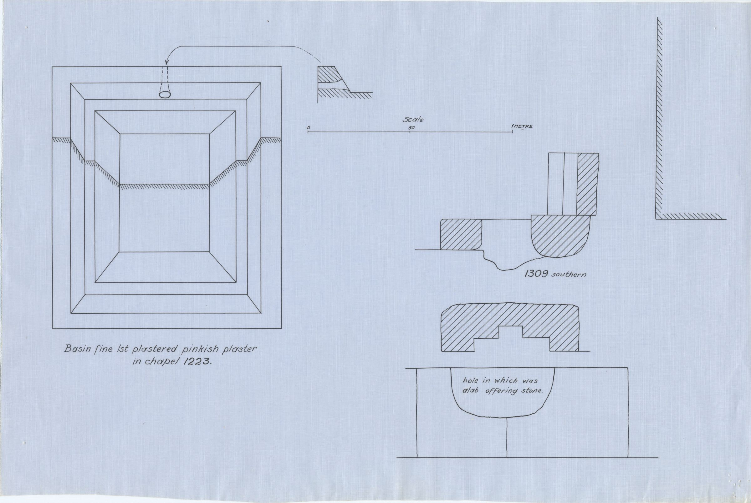 Maps and plans: Drawing of offering basin from G 1223 & Plan and section of G 1309 south niche