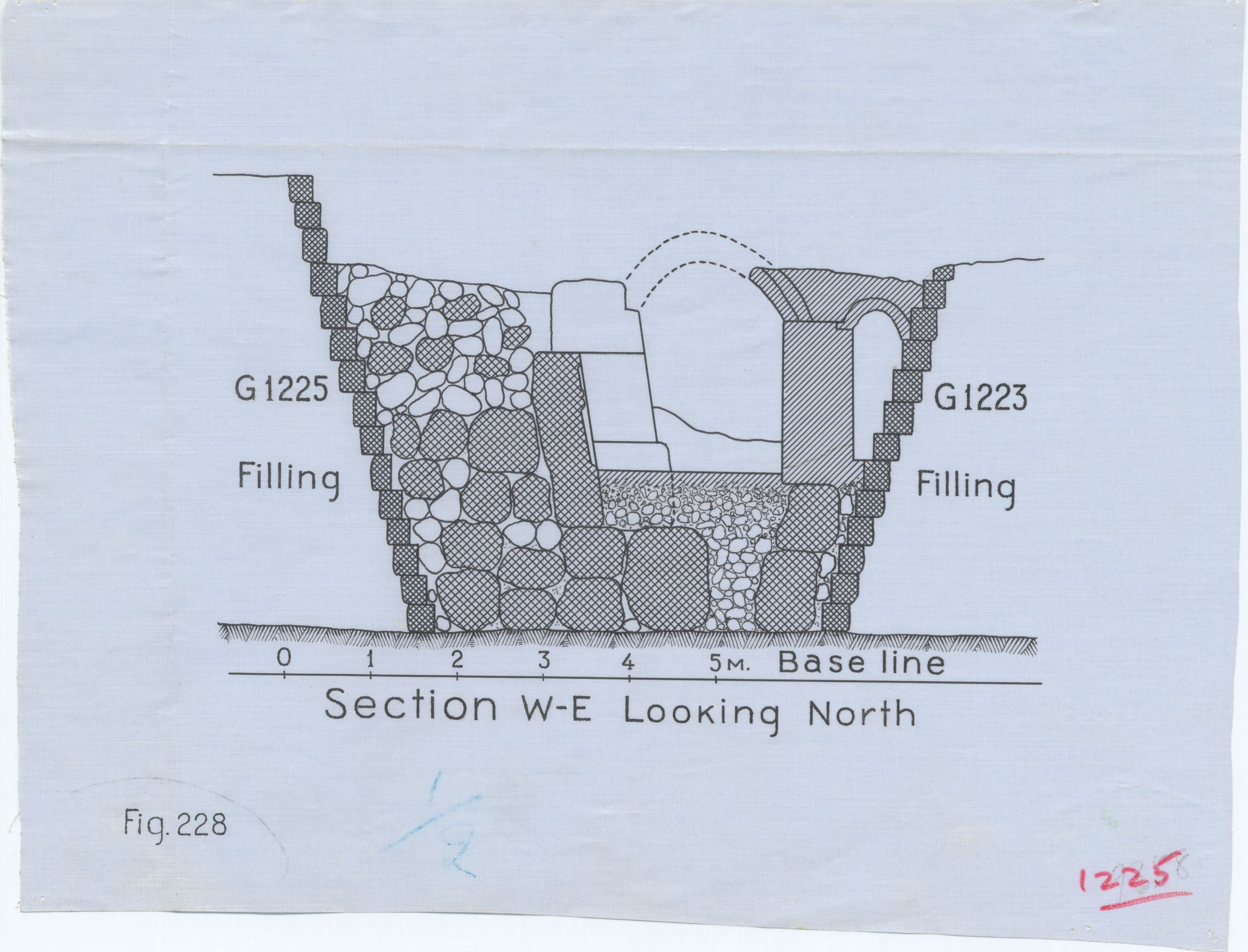 Maps and plans: Section between G 1223 and G 1225, looking north (reconstructed vault of G 1225-Annex chapel)