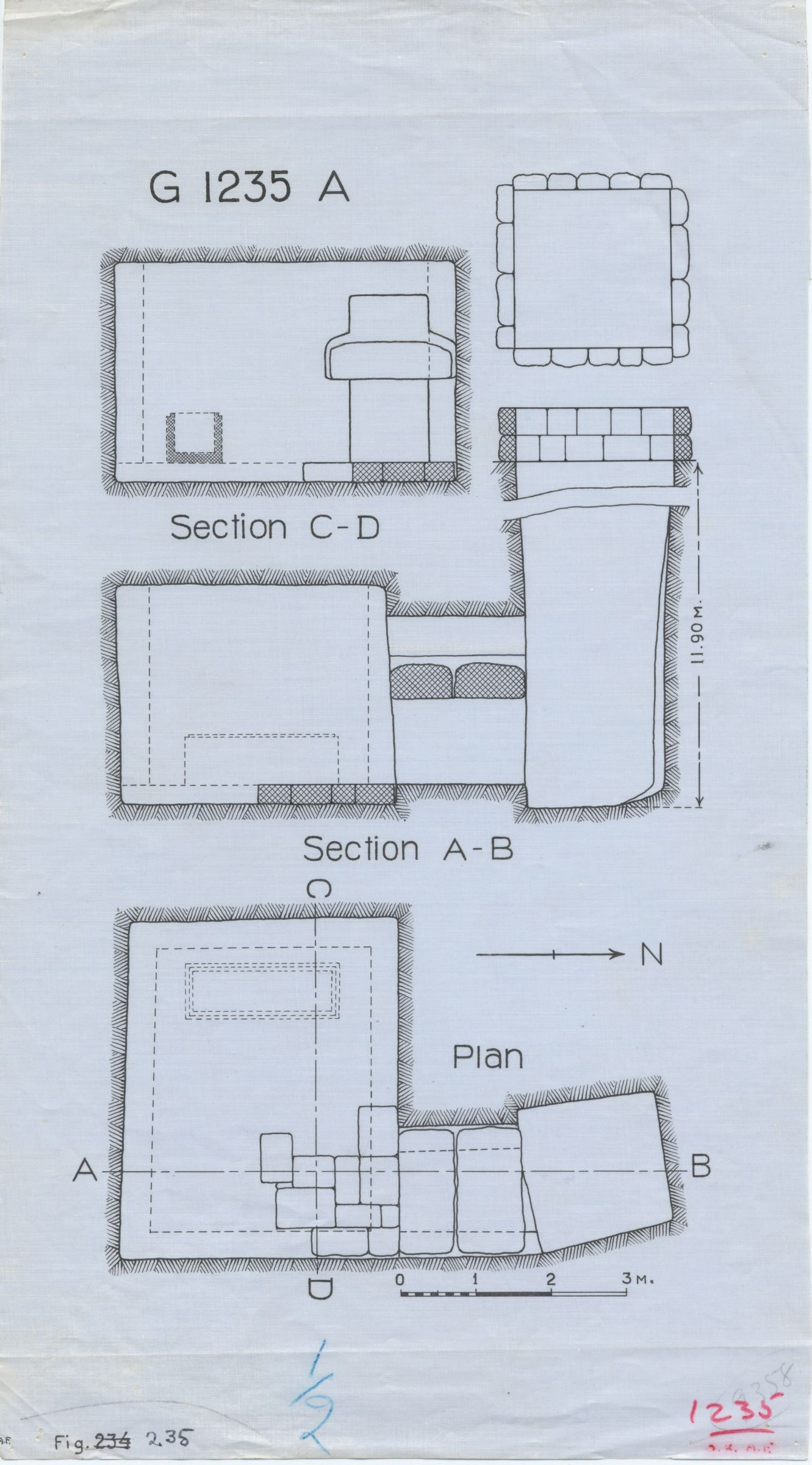 Maps and plans: G 1235, Shaft A