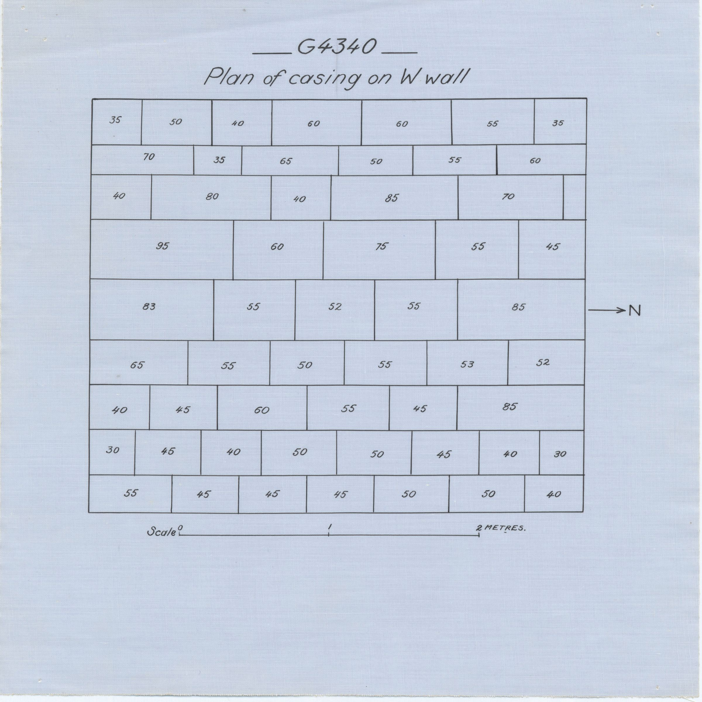Maps and plans: G 4340, Shaft A, burial chamber, west wall casing