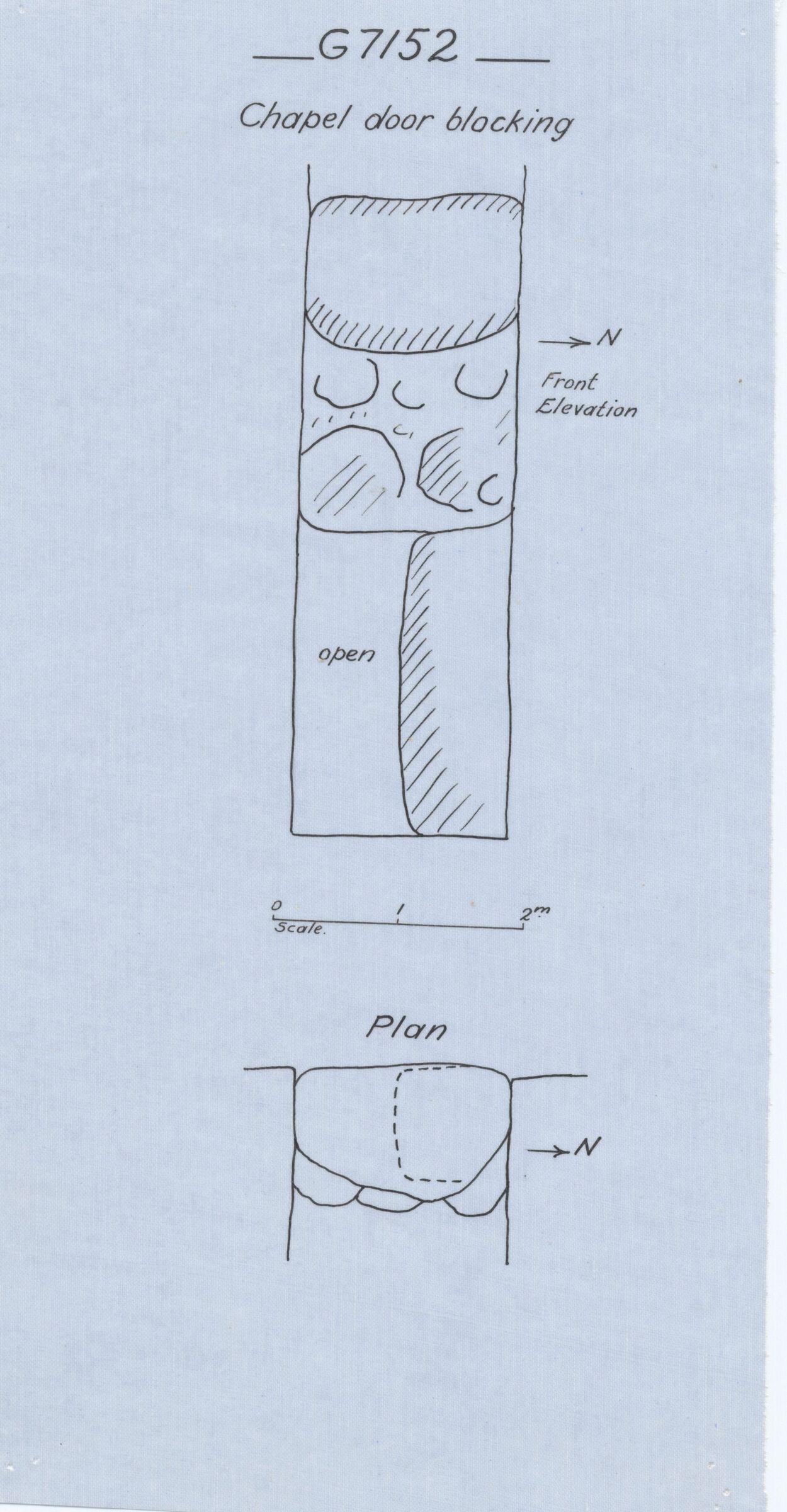 Maps and plans: G 7152, Chapel door blocking
