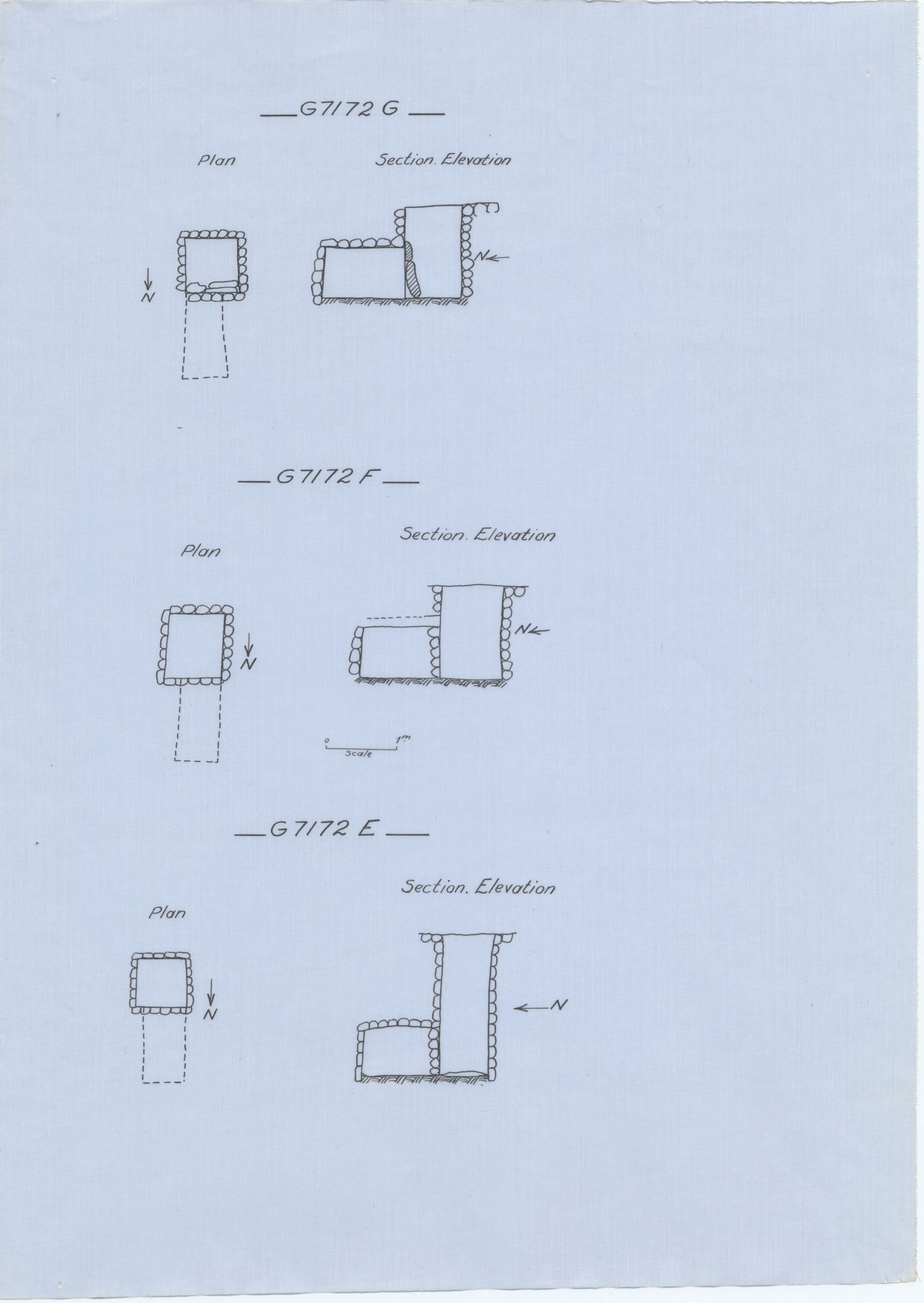 Maps and plans: G 7172, Shaft E, F, G