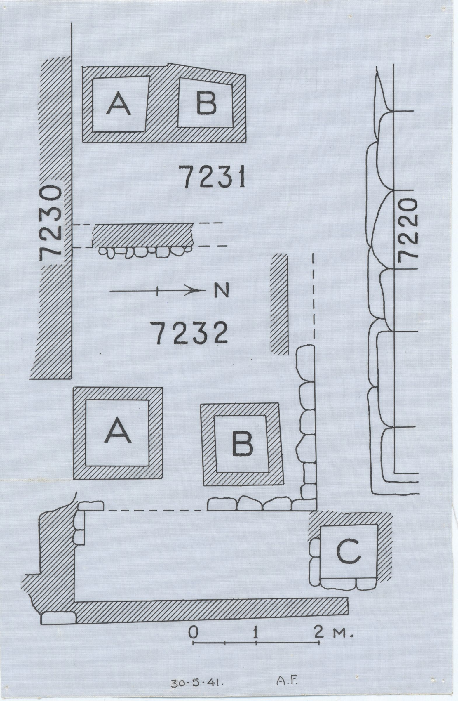 Maps and plans: Plan of G 7231 and G 7232, with position of G 7210-7220 and G 7230-7240