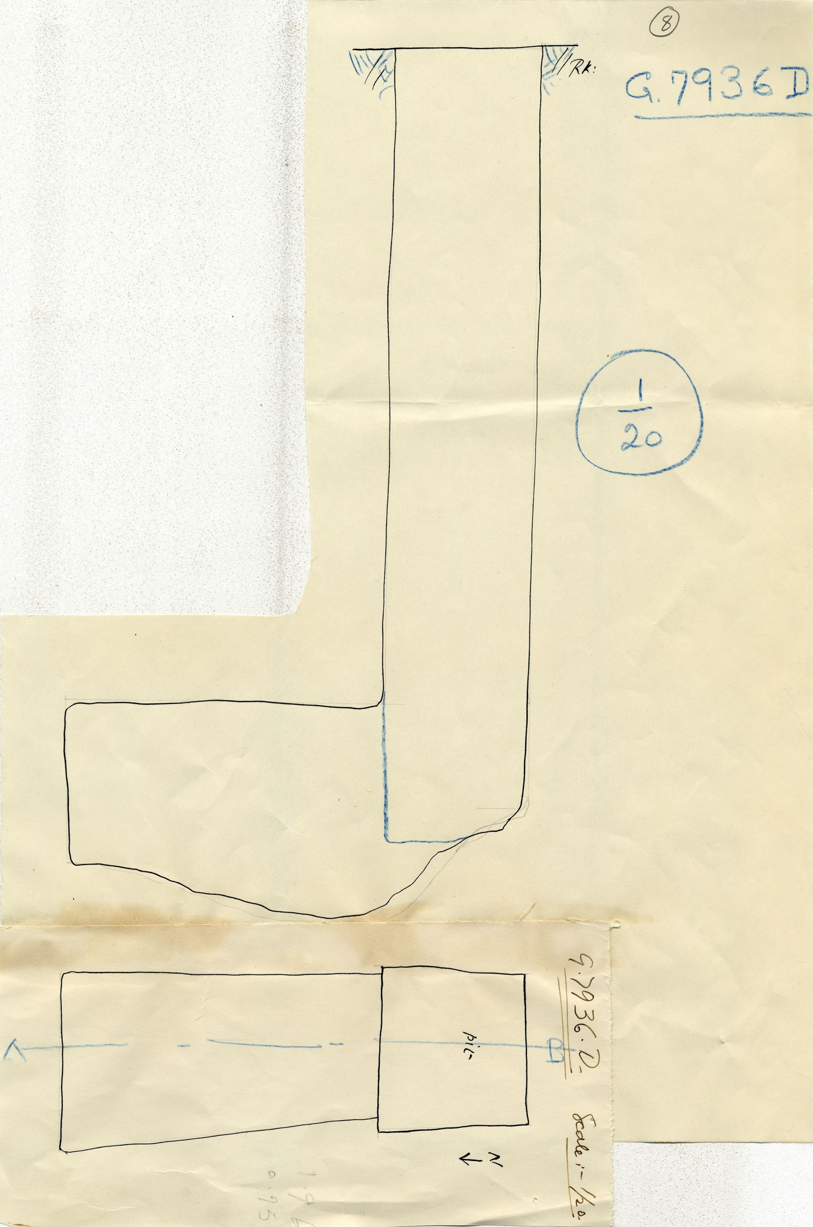 Maps and plans: G 7936, Shaft D