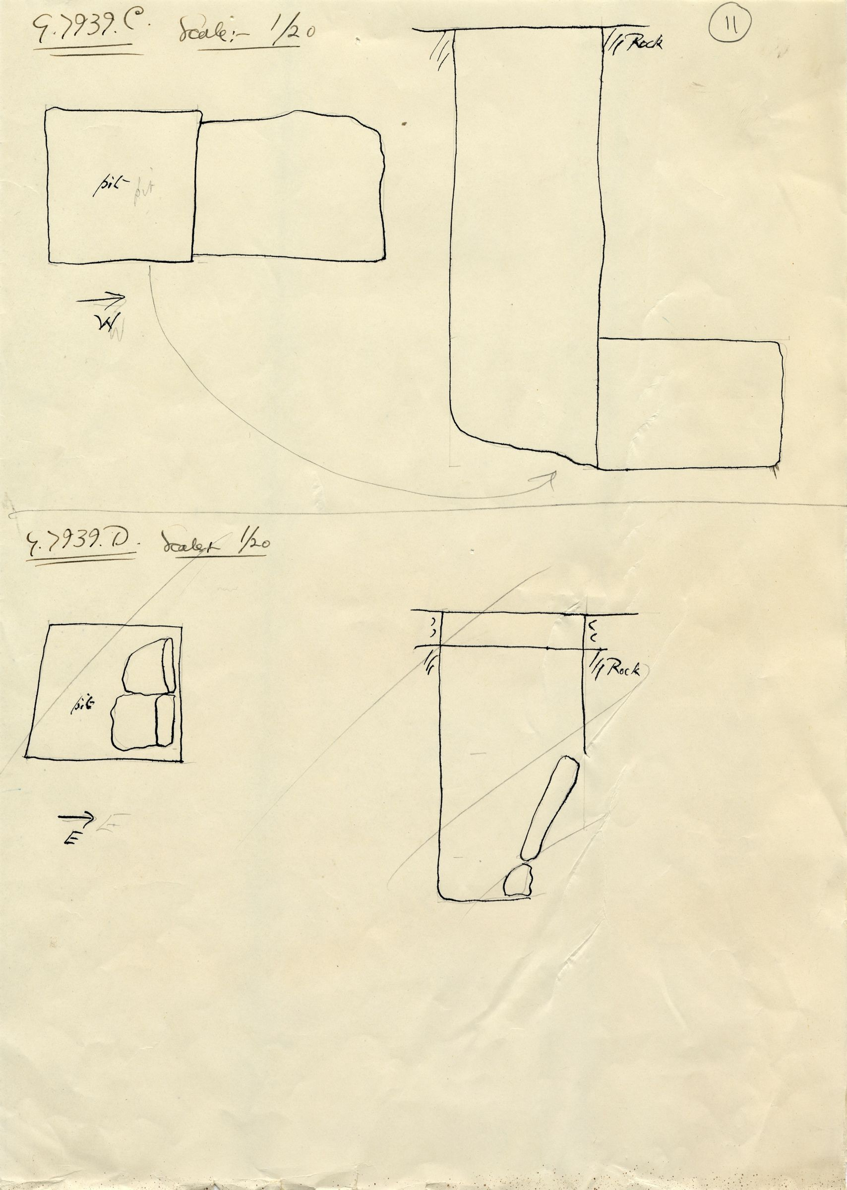 Maps and plans: G 7939, Shaft C and D