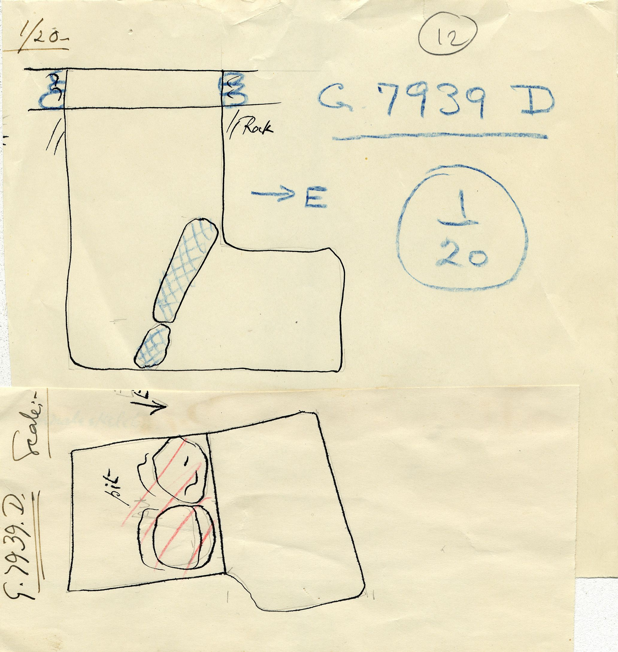 Maps and plans: G 7939, Shaft D