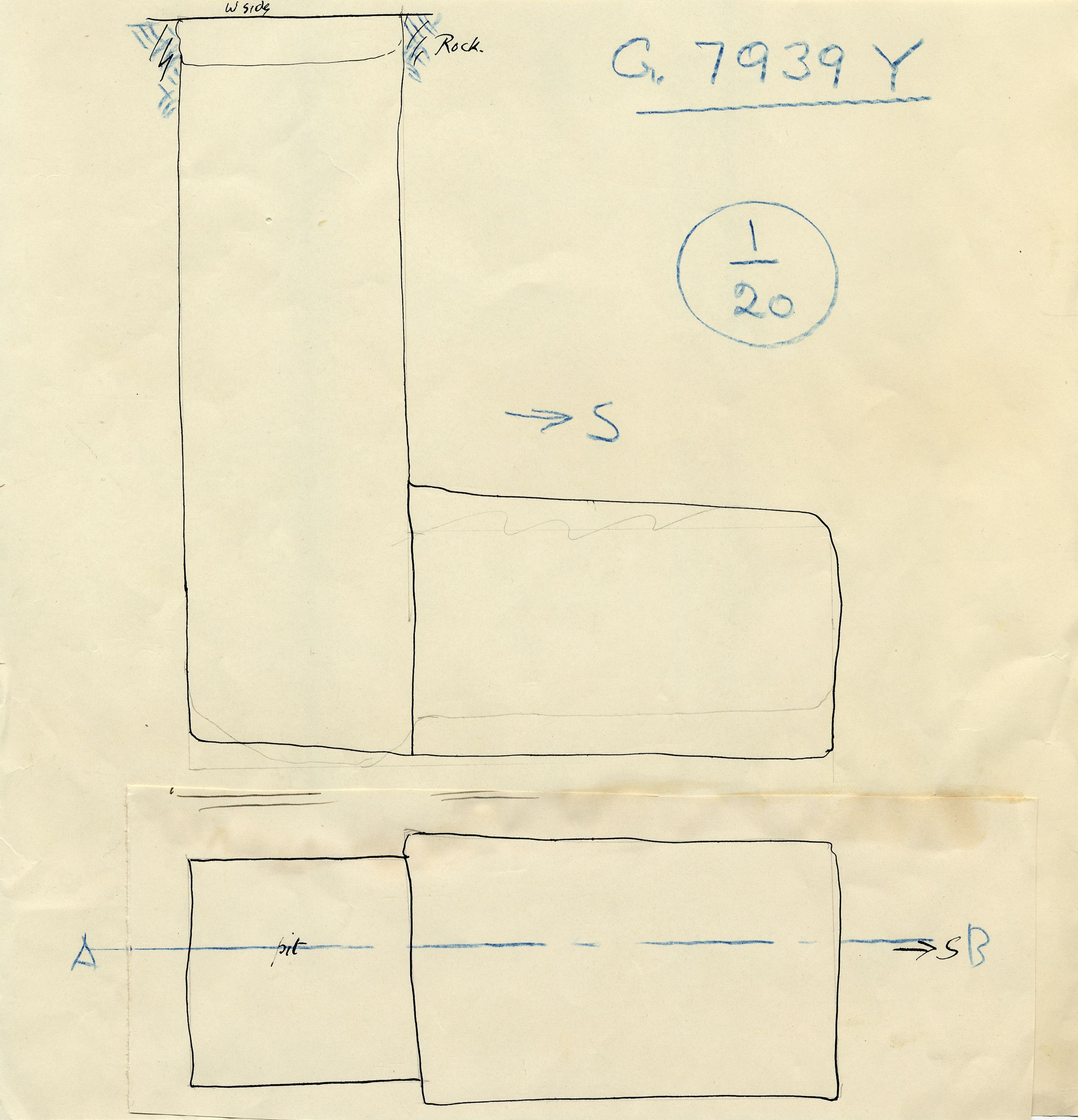 Maps and plans: G 7939, Shaft Y