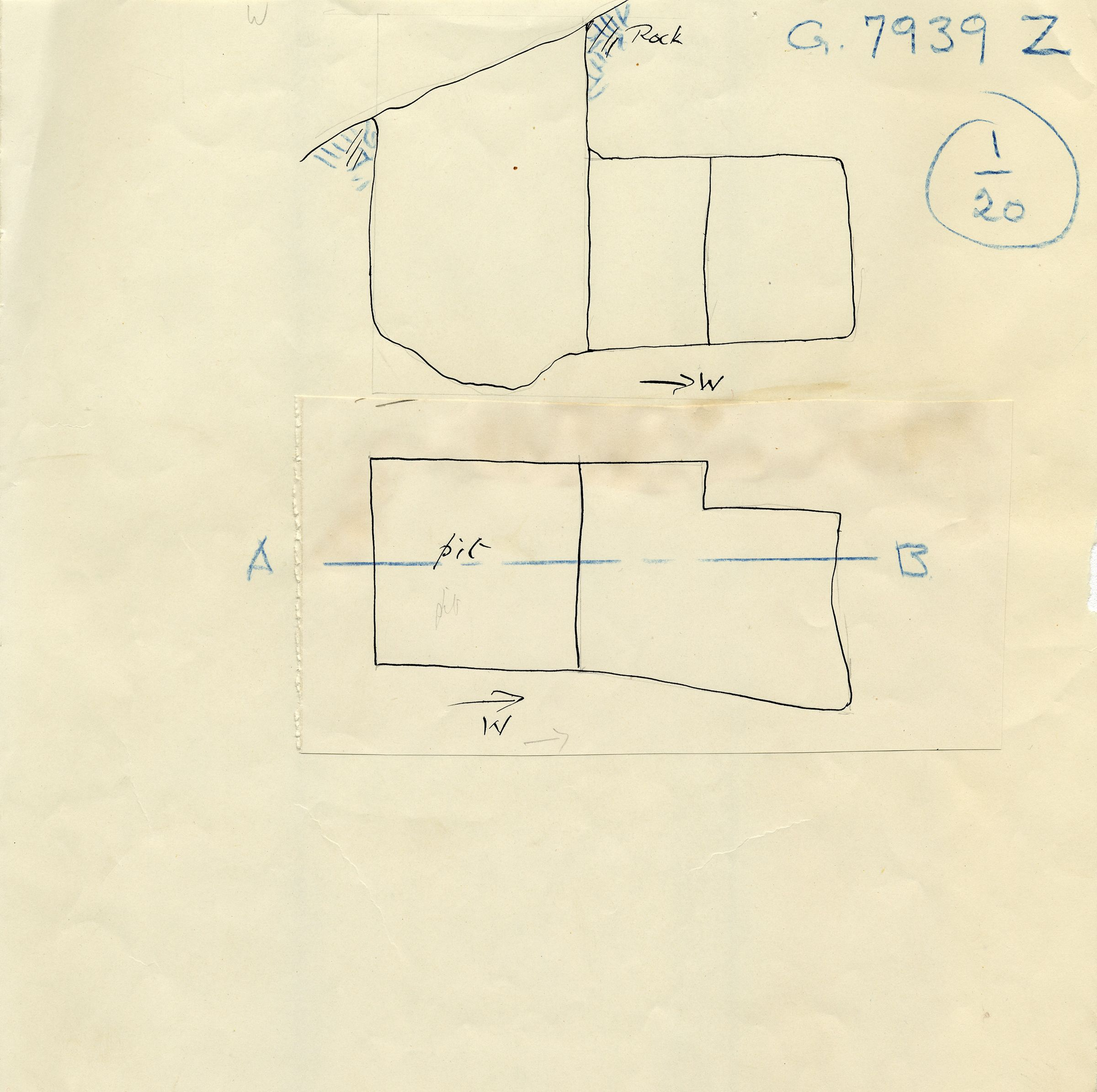 Maps and plans: G 7939, Shaft Z