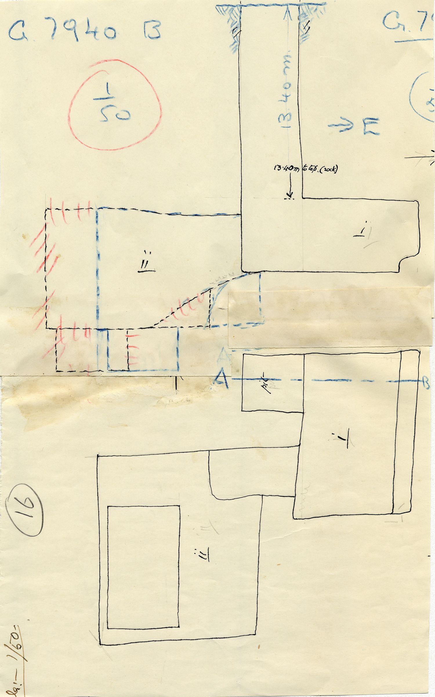 Maps and plans: G 7940, Shaft B