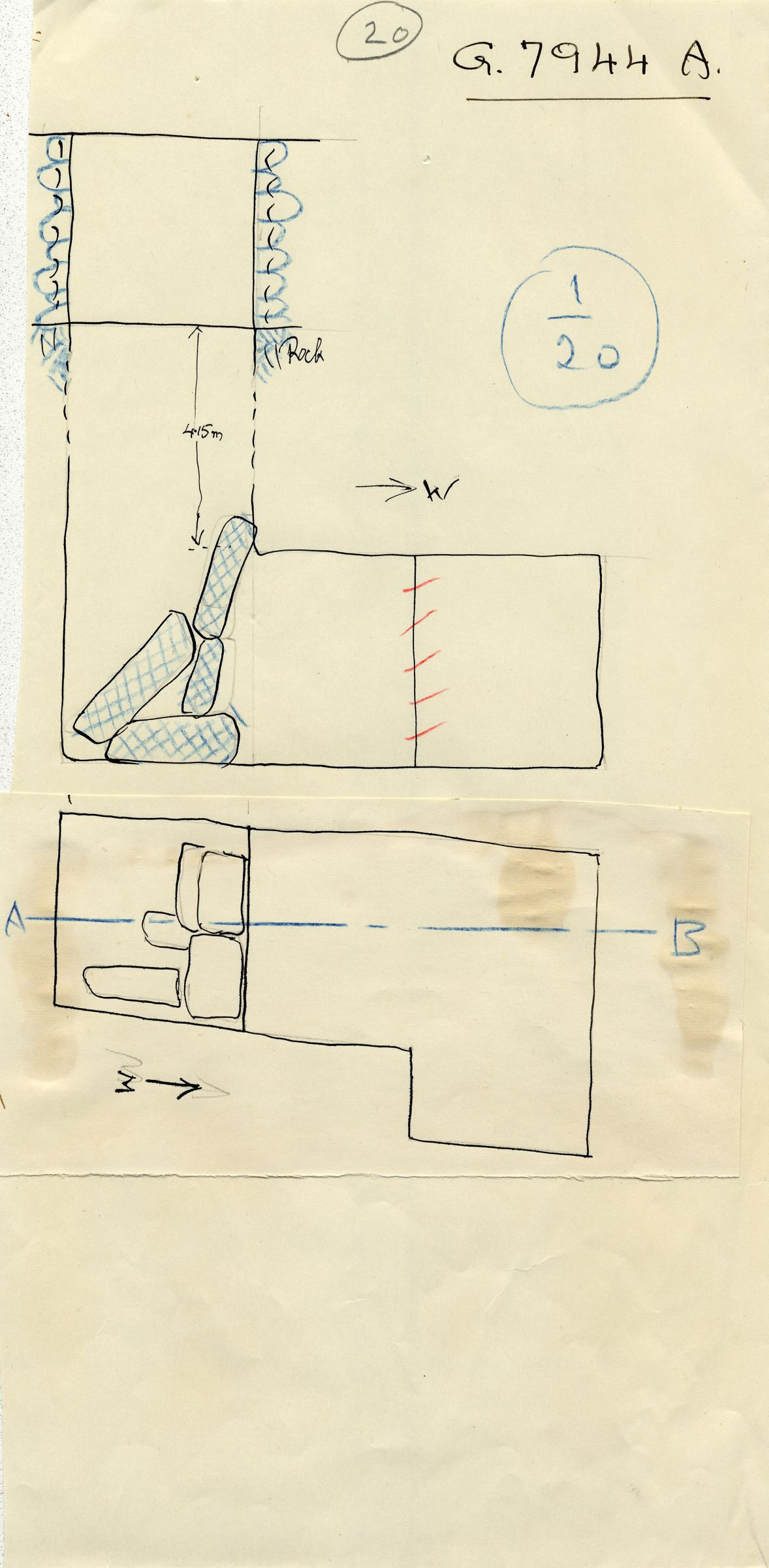 Maps and plans: G 7944, Shaft A