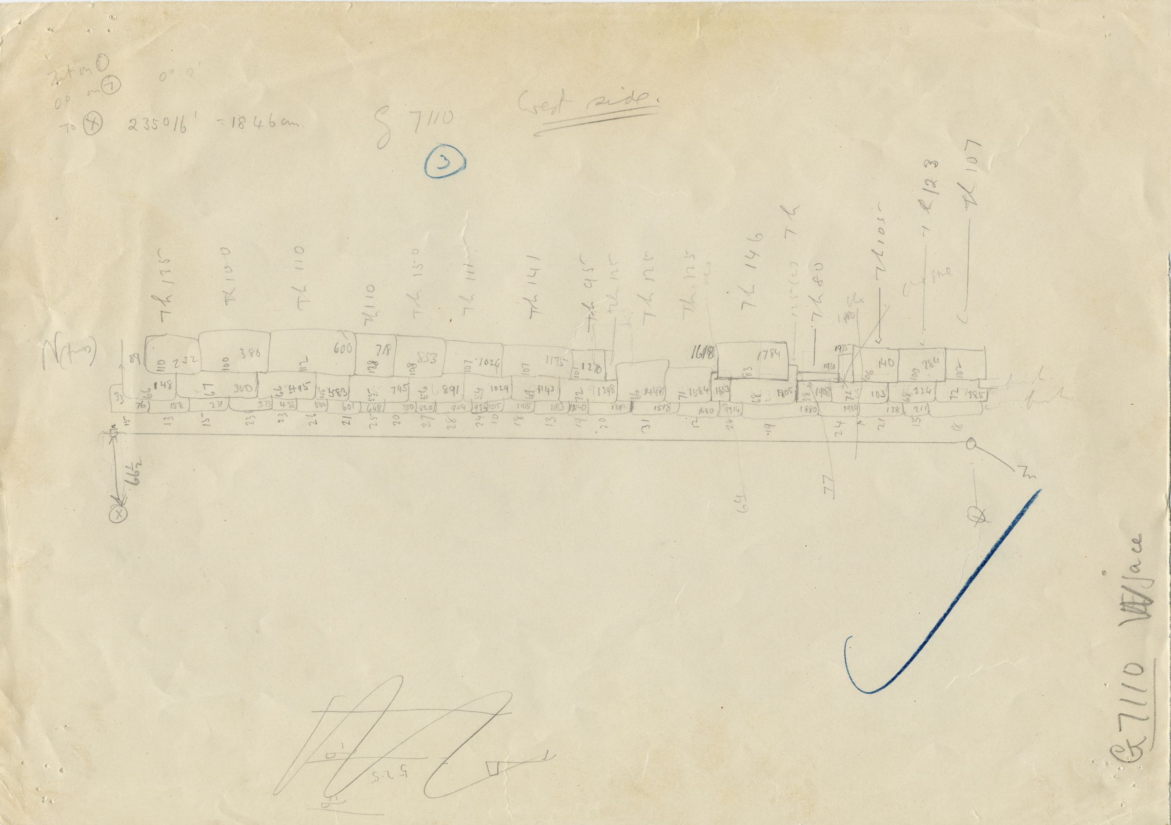 Maps and plans: G 7110-7120: G 7110, Sketch drawing of west face