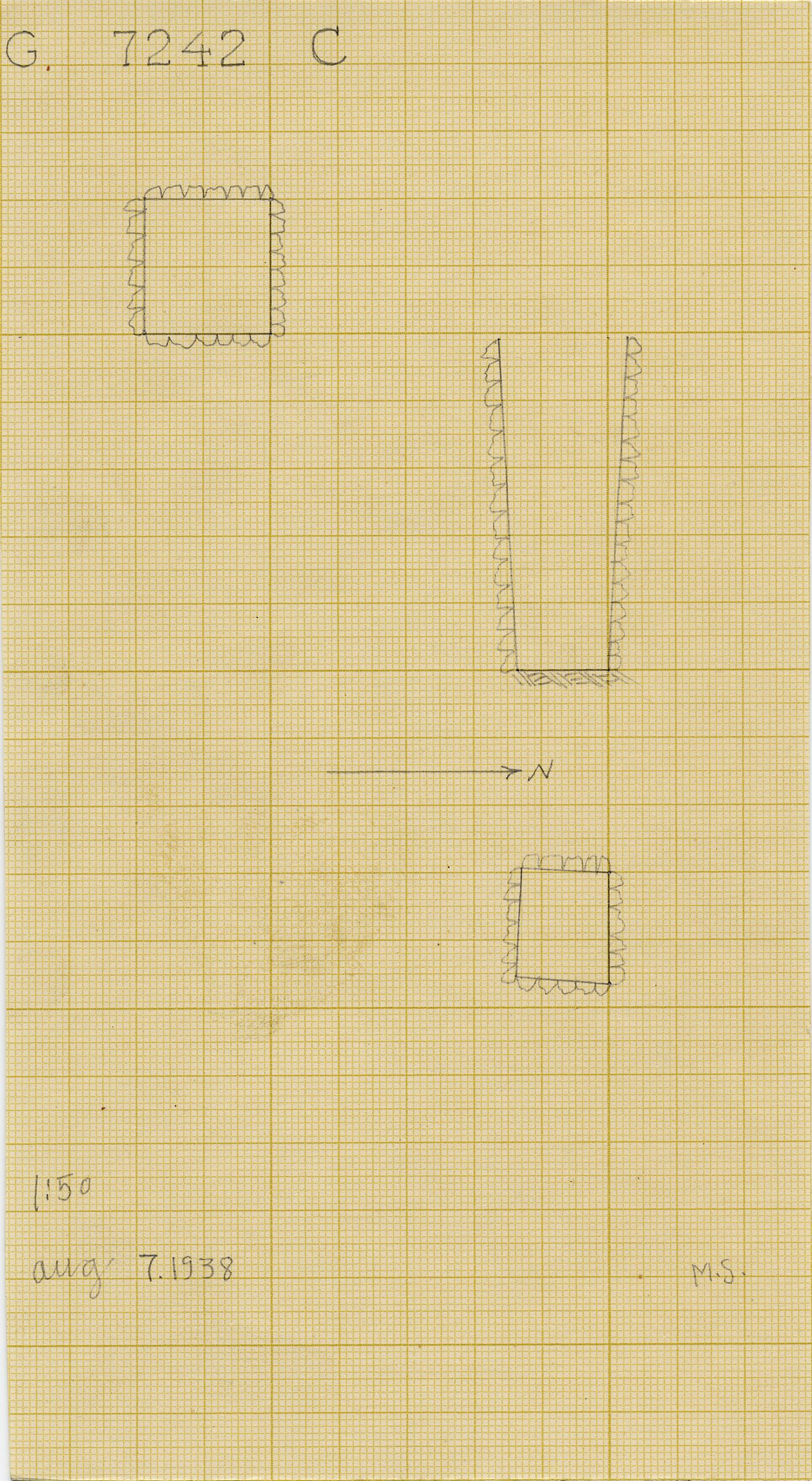 Maps and plans: G 7242, Shaft C