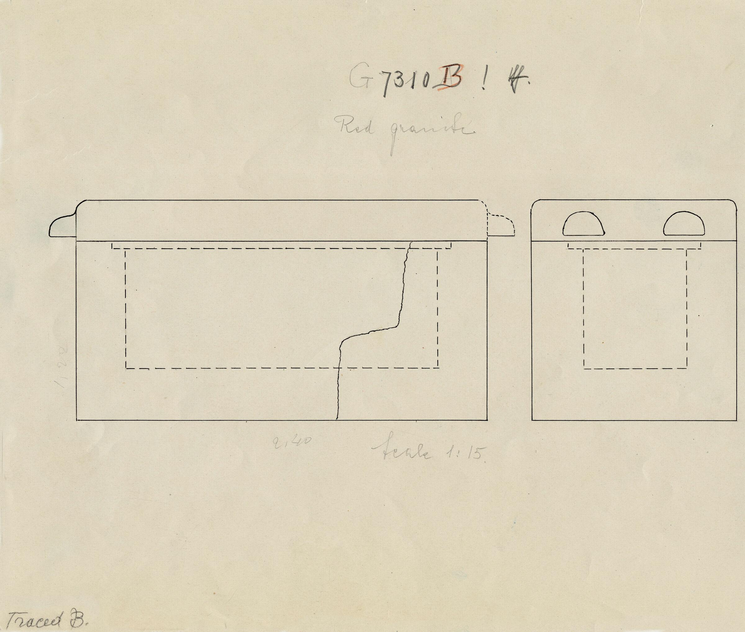 Maps and plans: G 7310-7320: G 7310, Shaft B, sarcophagus